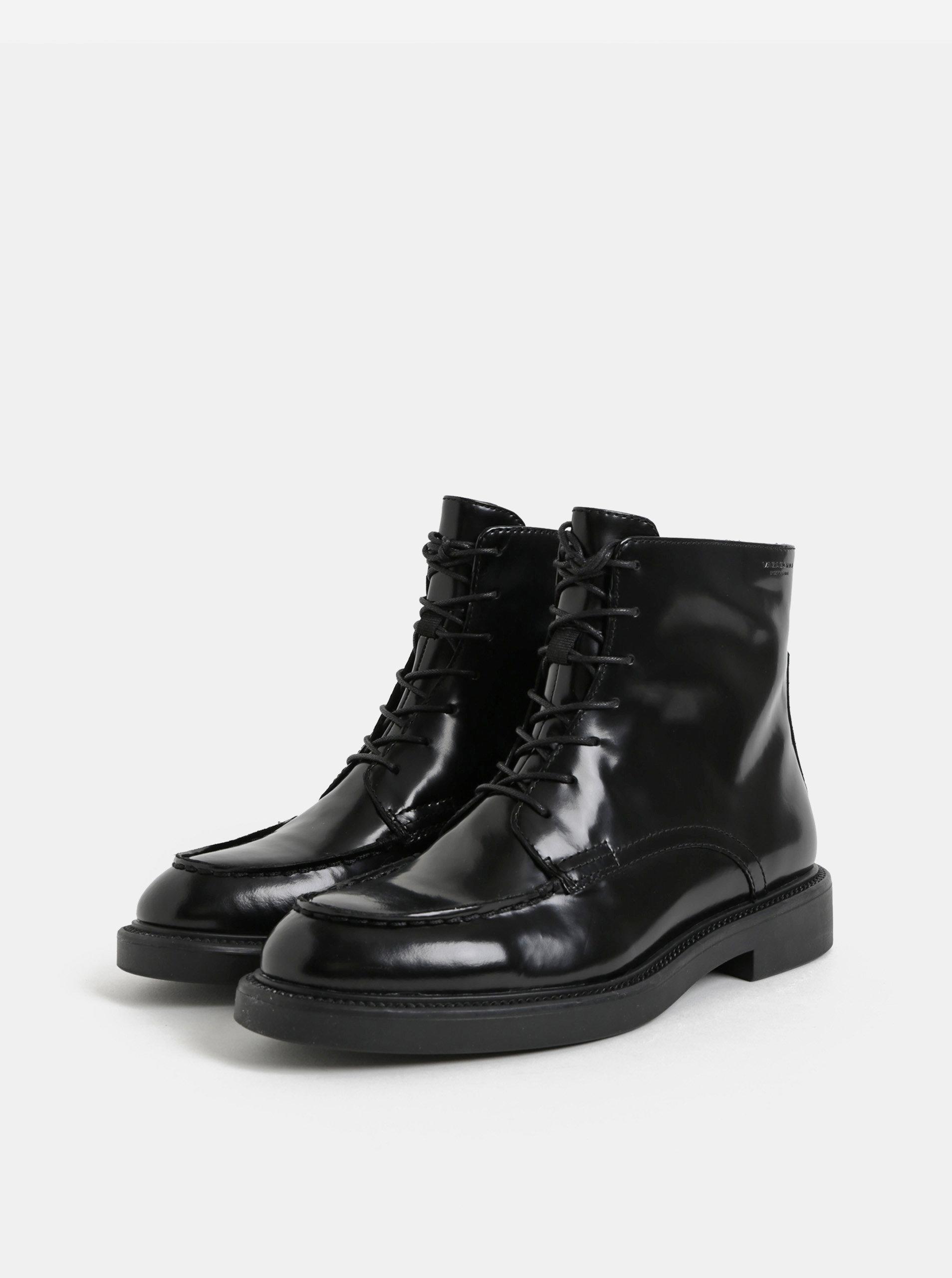 2c923b3b6e34e Čierne dámske kožené členkové topánky so šnurovaním Vagabond Alex ...