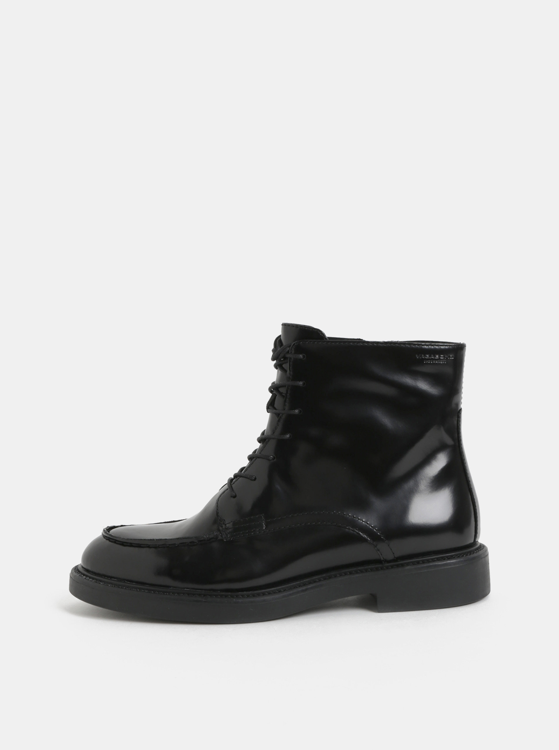 Čierne dámske kožené členkové topánky so šnurovaním Vagabond Alex ... 04cd0ddef20