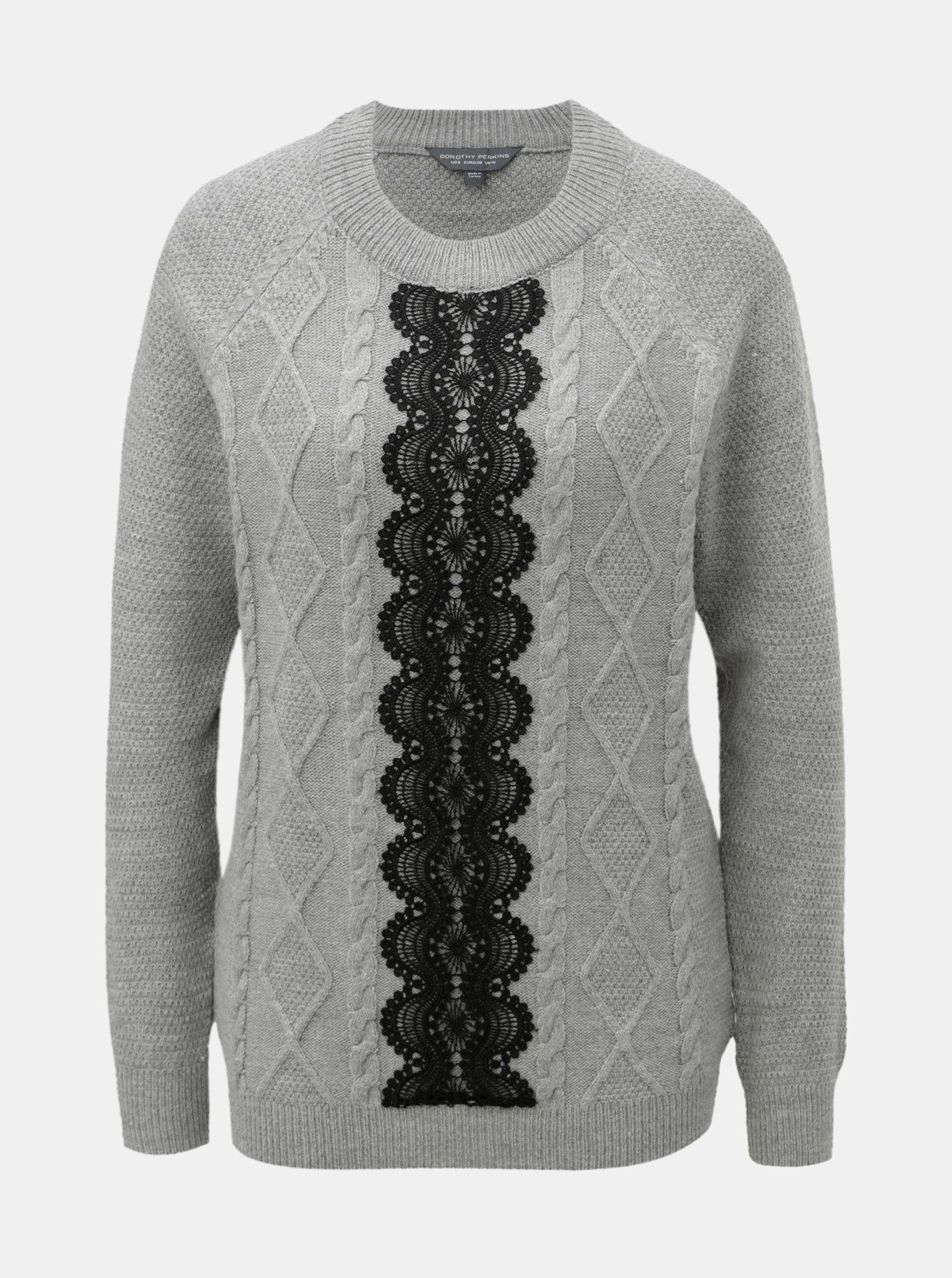 04914fb2a1a Šedý svetr s krajkovým detailem Dorothy Perkins Tall ...