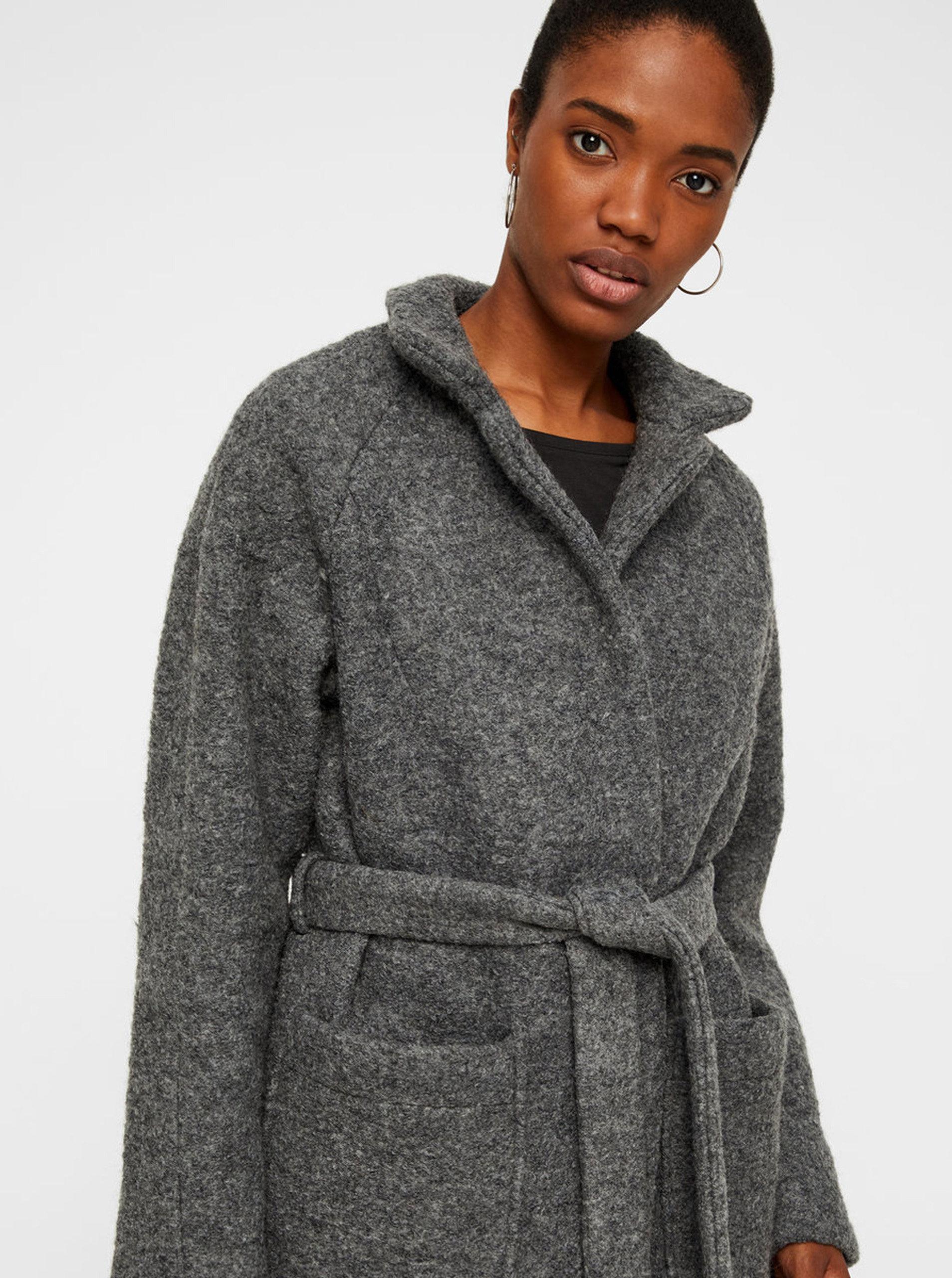 Šedý vlněný kabát s kapsami a páskem Noisy May Zoe ... 0908eb9d7b