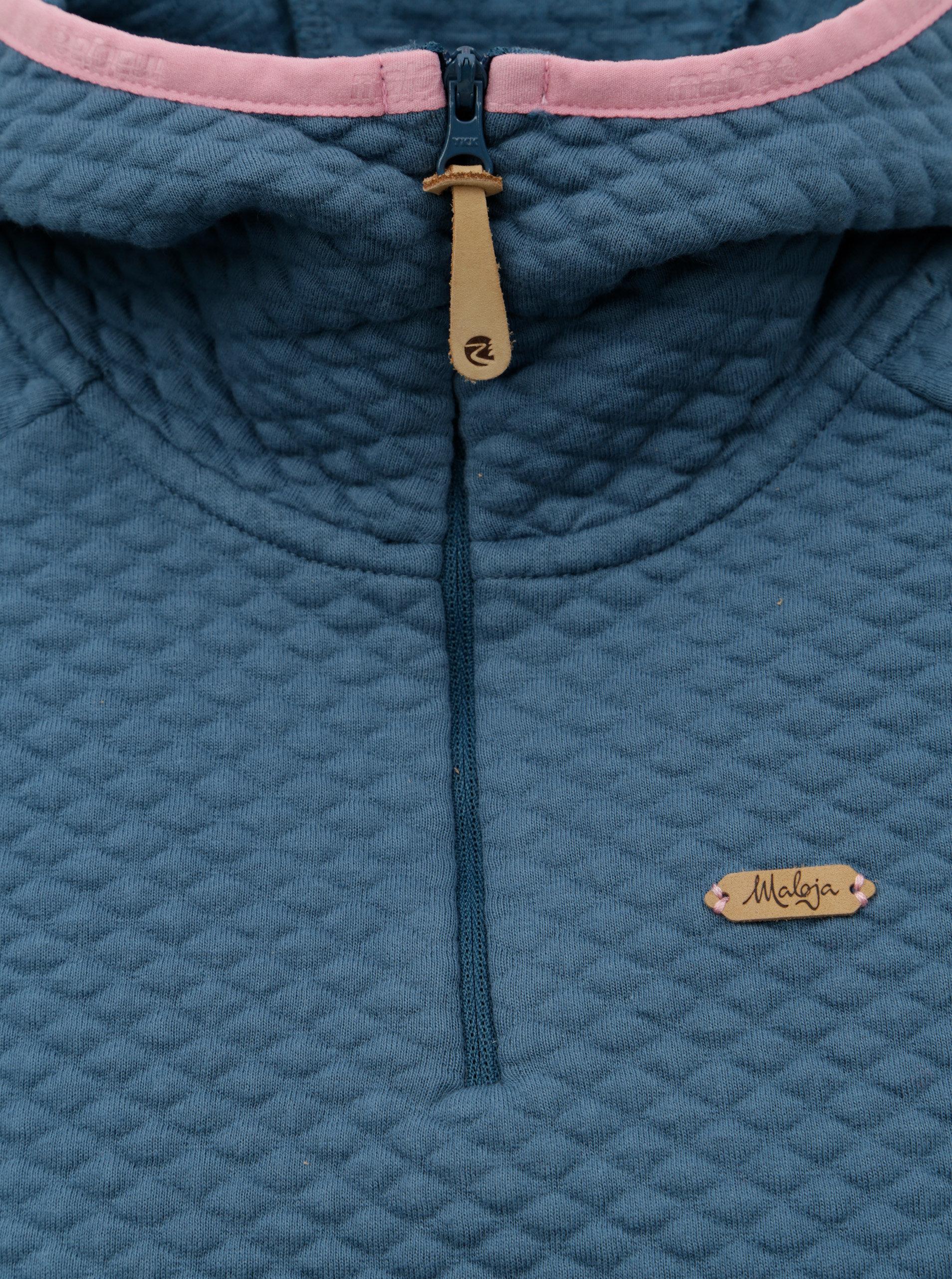 Modrá dámská mikina s kapucí a se zipem Maloja Boscaia ... ad5d2919af