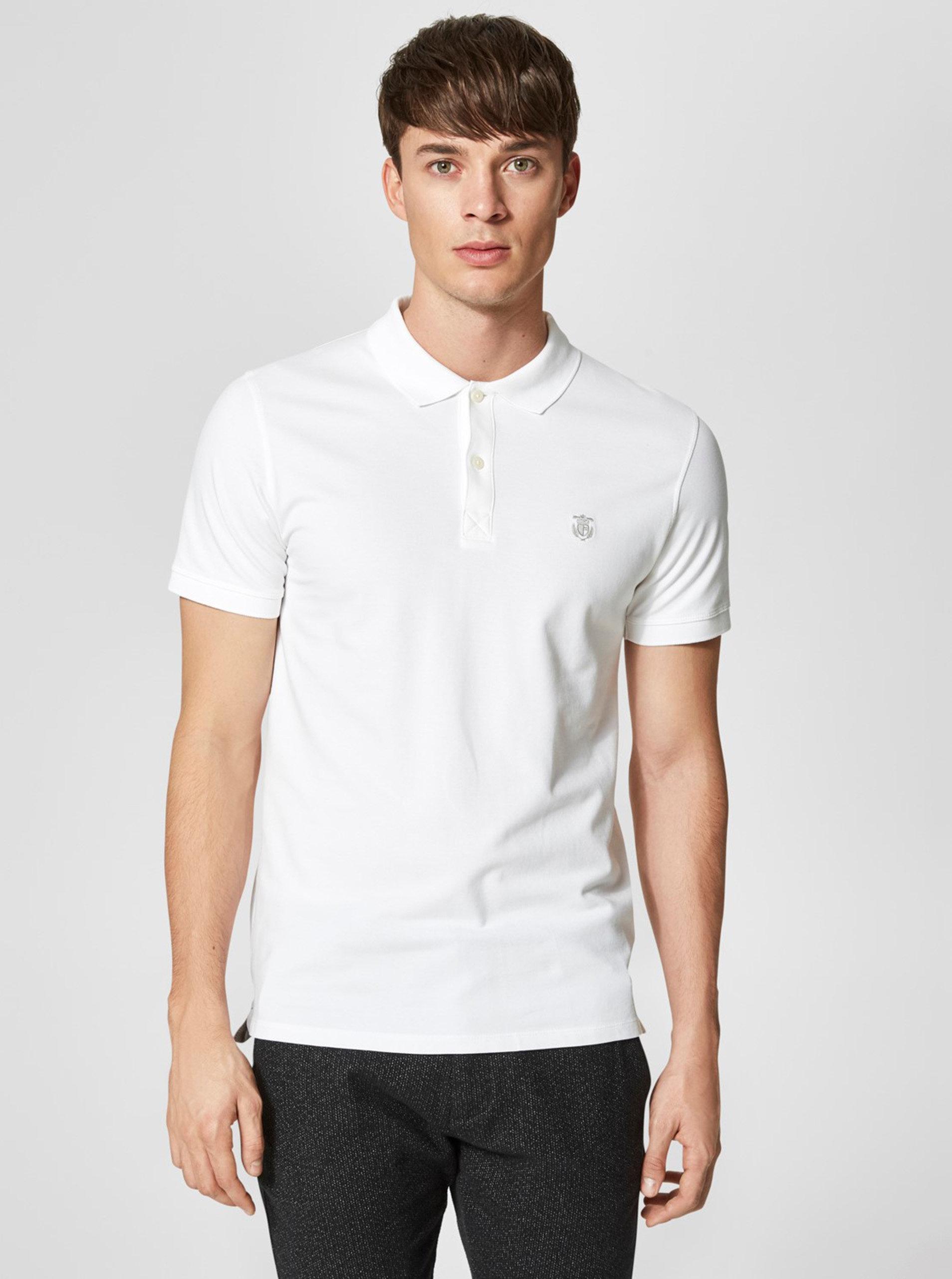 Bílé basic polo tričko Selected Homme Haro