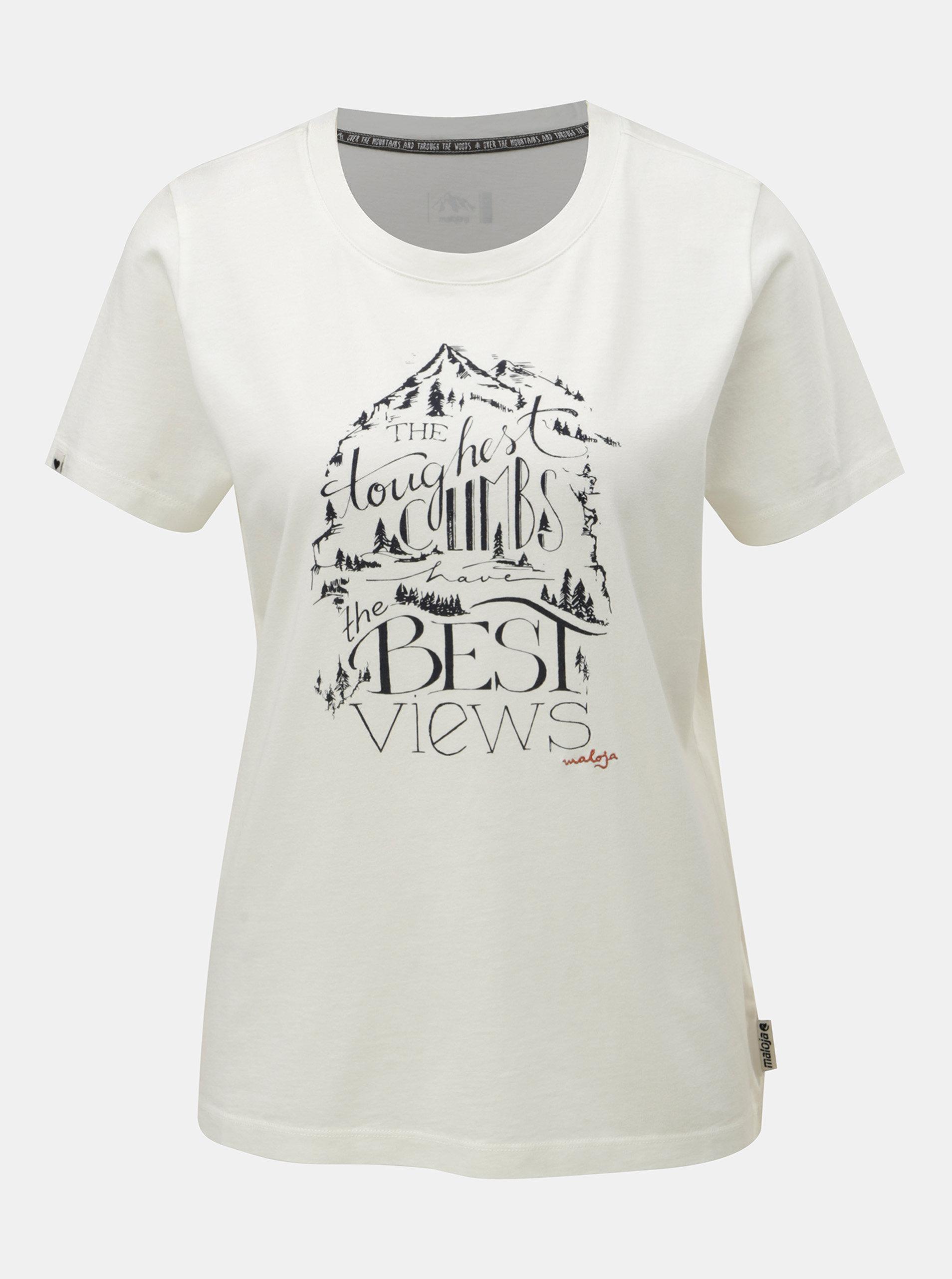 e4661fbdf216 Krémové dámske tričko s potlačou a krátkym rukávom Maloja Orlegna ...