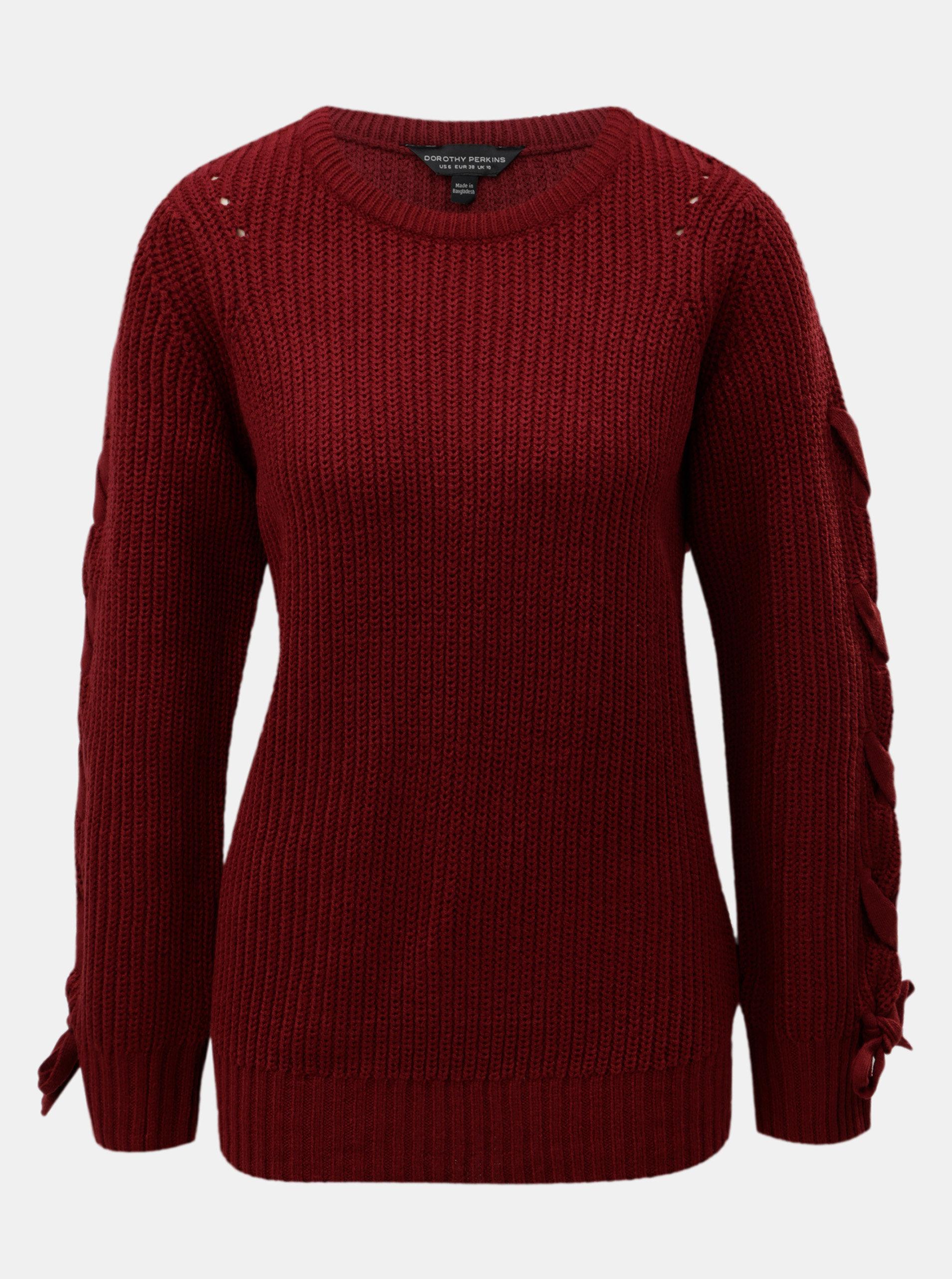 a936a32c1a2 Vínový svetr se šněrováním na rukávech Dorothy Perkins Tie ...