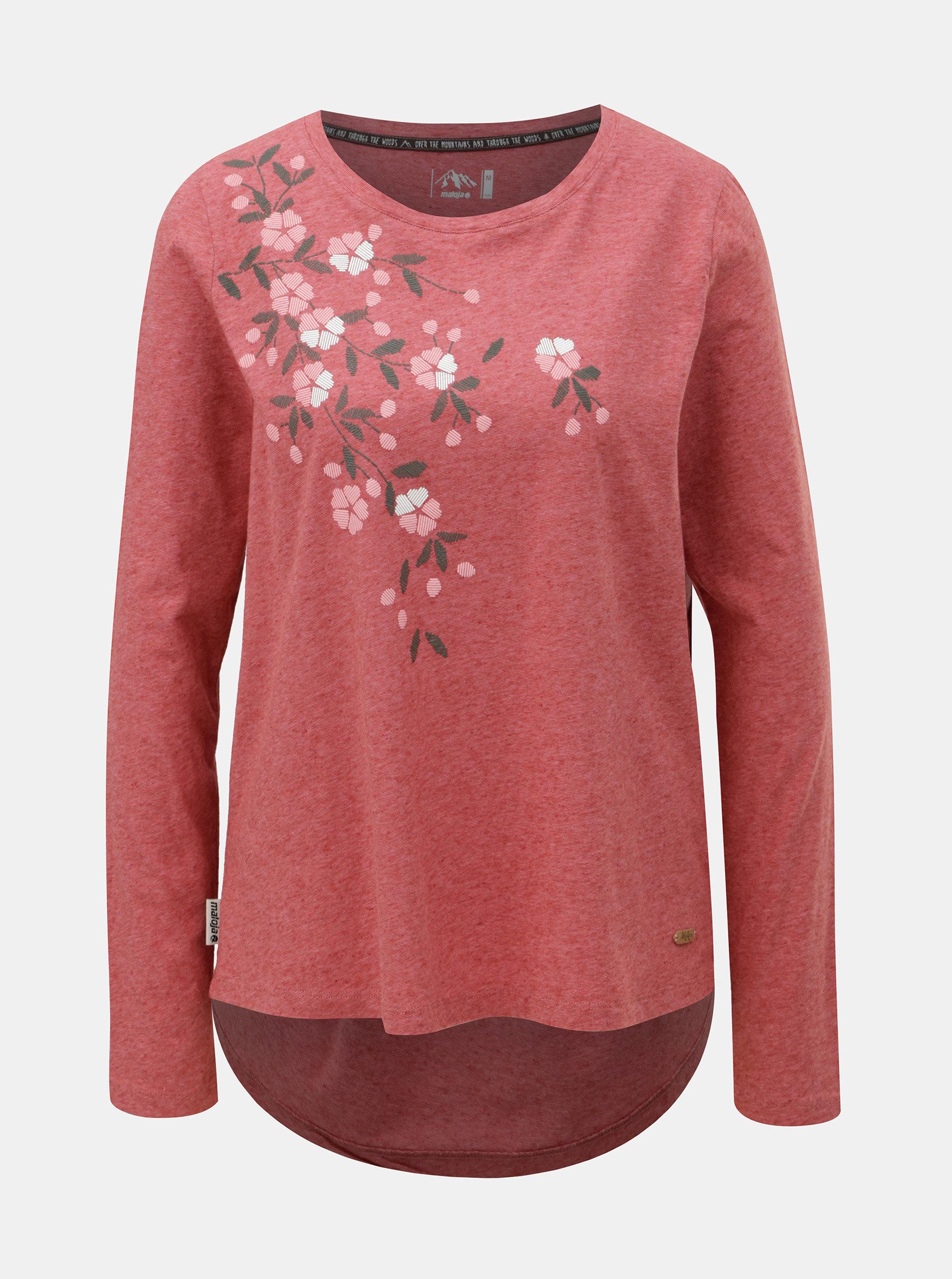 Červené dámské žíhané tričko s příměsí lnu Maloja Barnaba ... 33c94e47c5