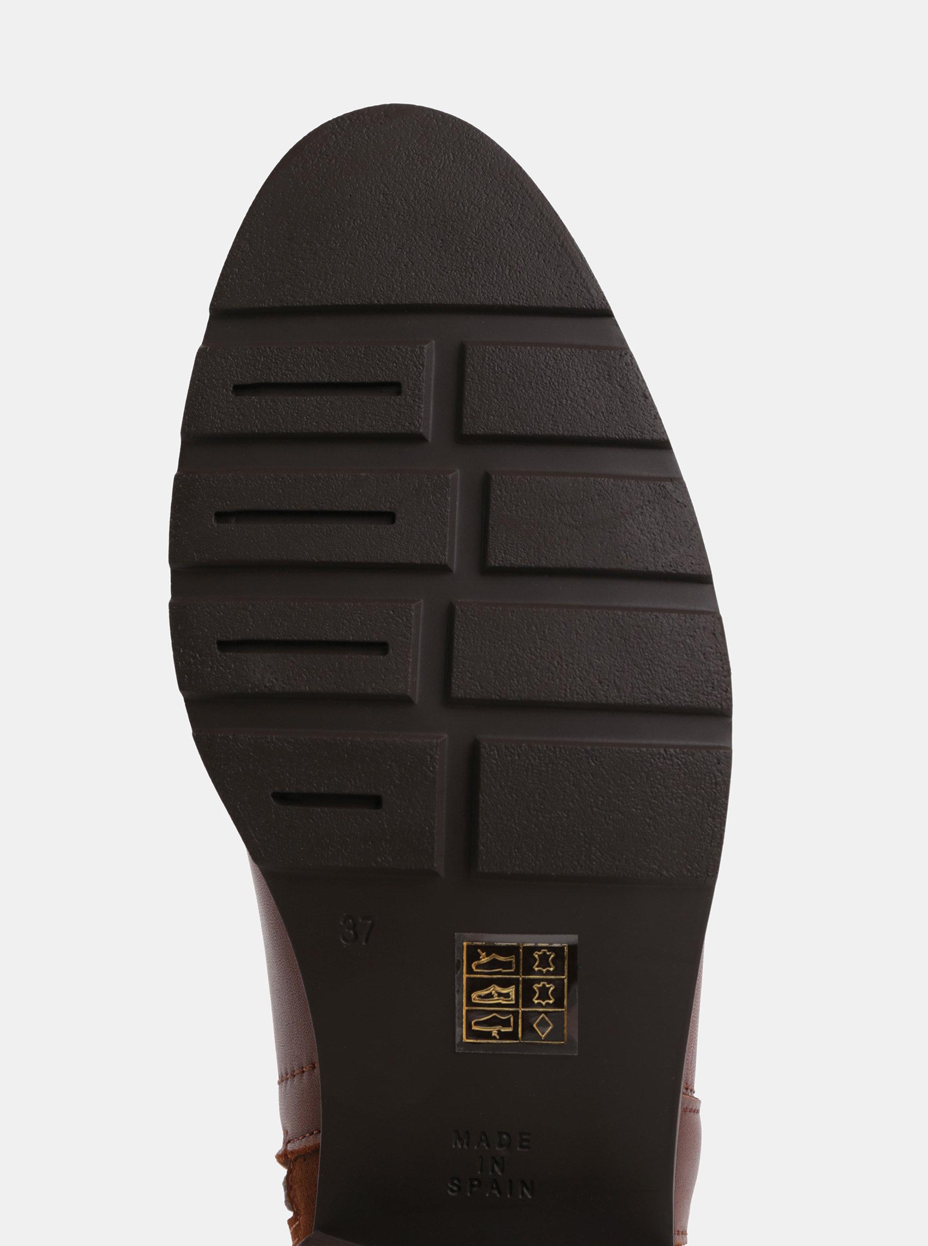 1df9cf910db2 Hnedé kožené členkové topánky so semišovým detailom OJJU ...