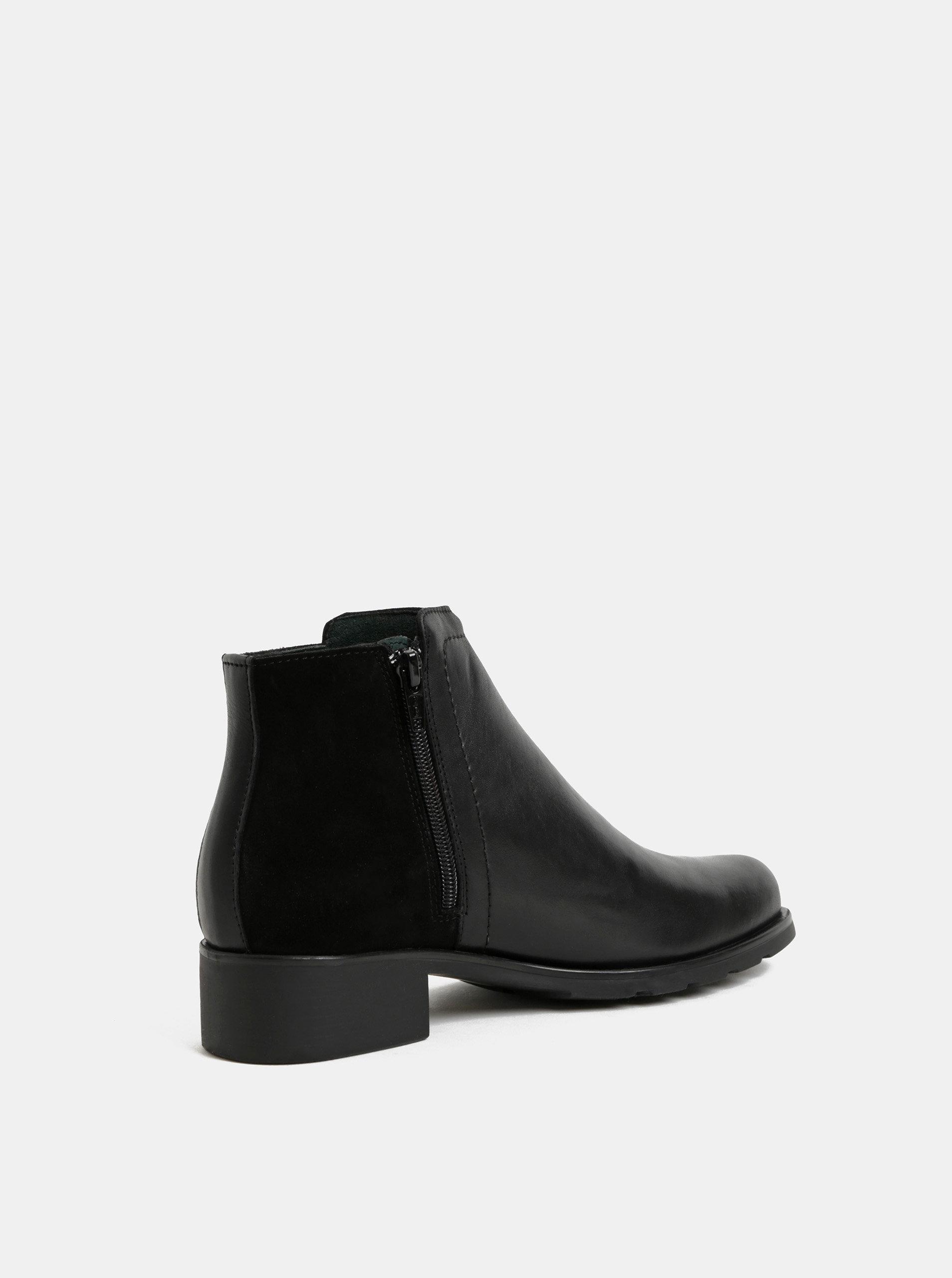 f573b7de0d2a Čierne kožené členkové topánky so semišovým detailom OJJU ...