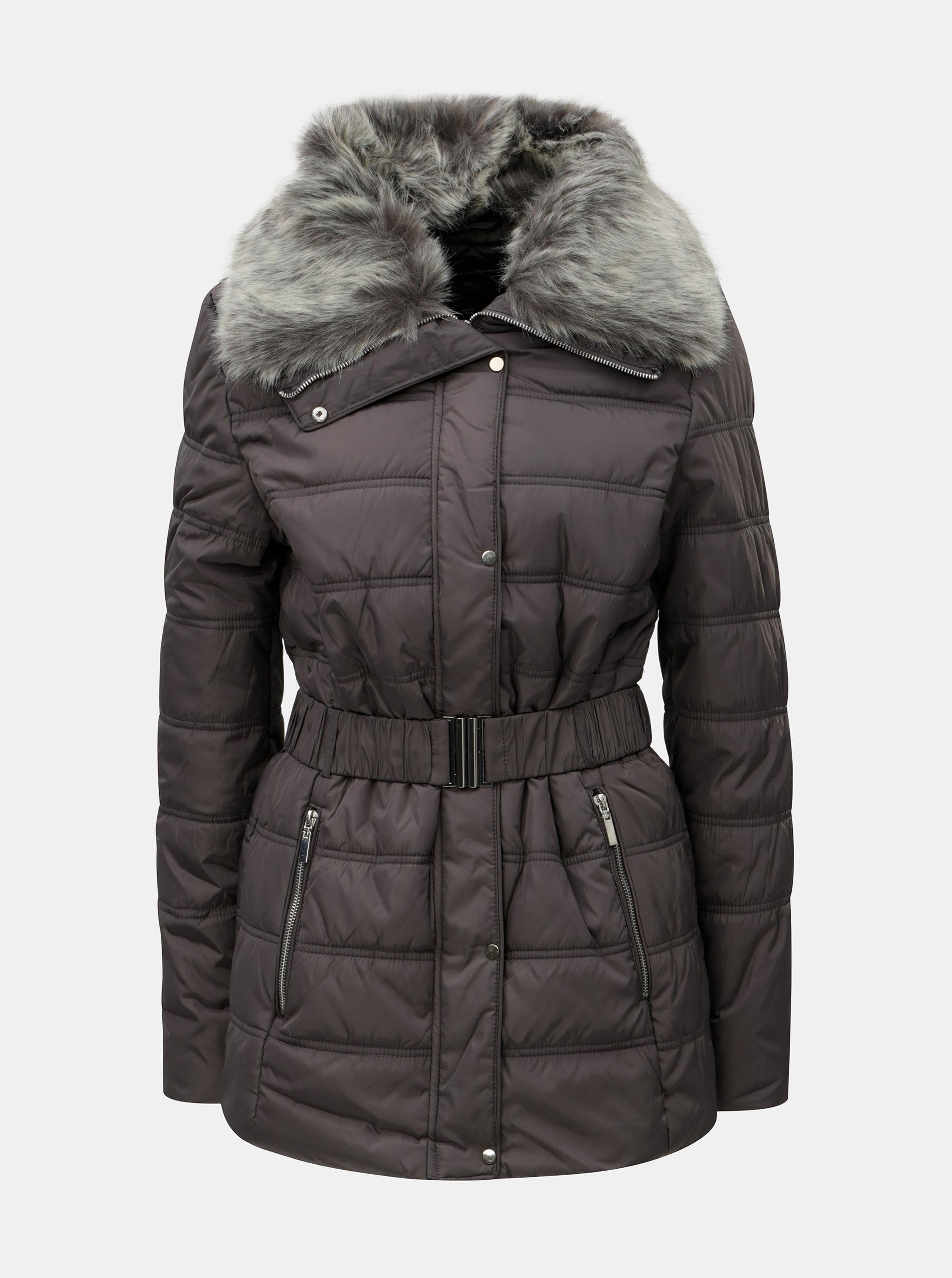 Sivá prešívaná zimná bunda s umelou kožušinkou Dorothy Perkins Tall ... 0d7657862f2