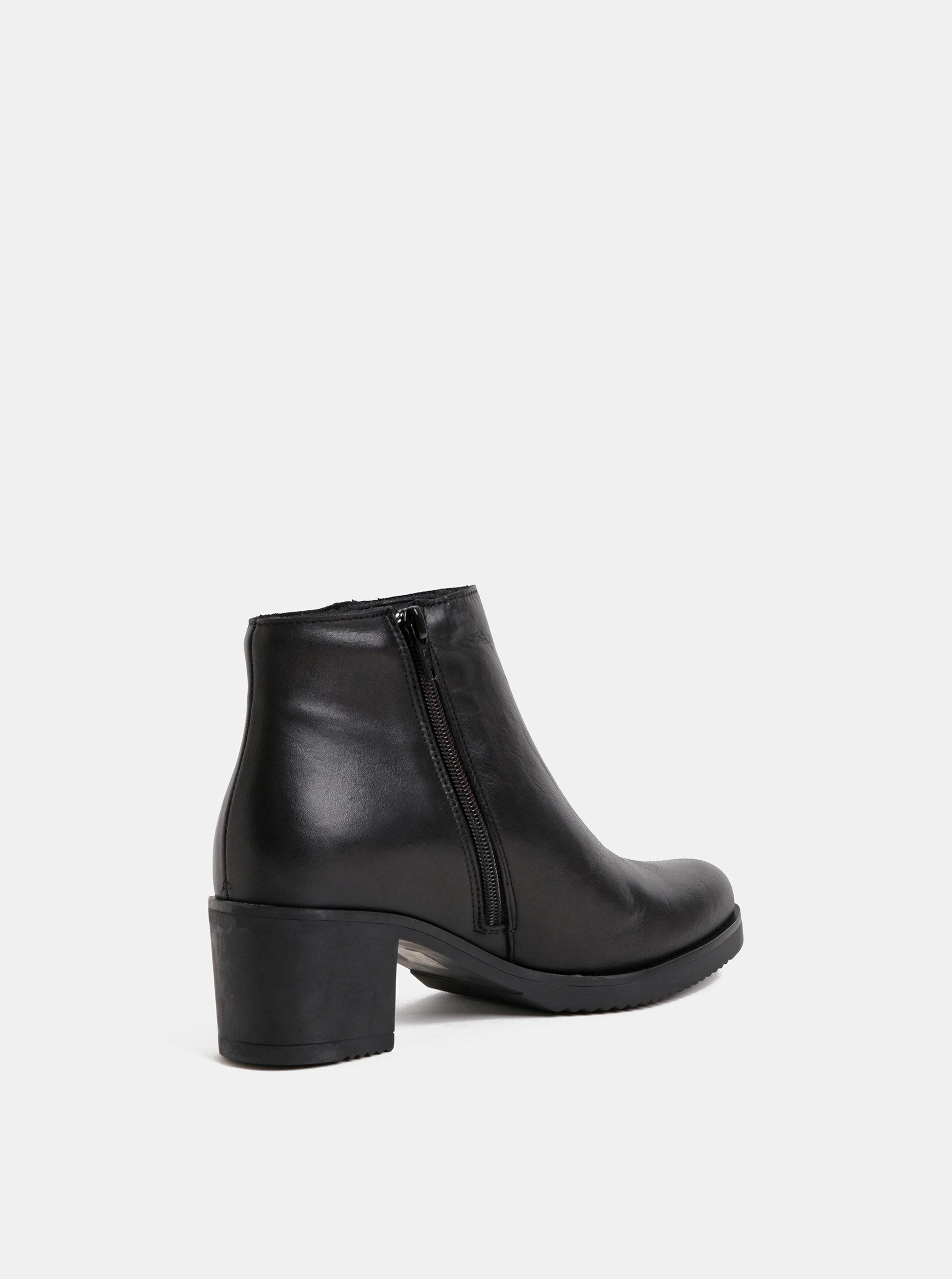 72532f031e1 Černé kožené kotníkové boty na podpatku OJJU ...