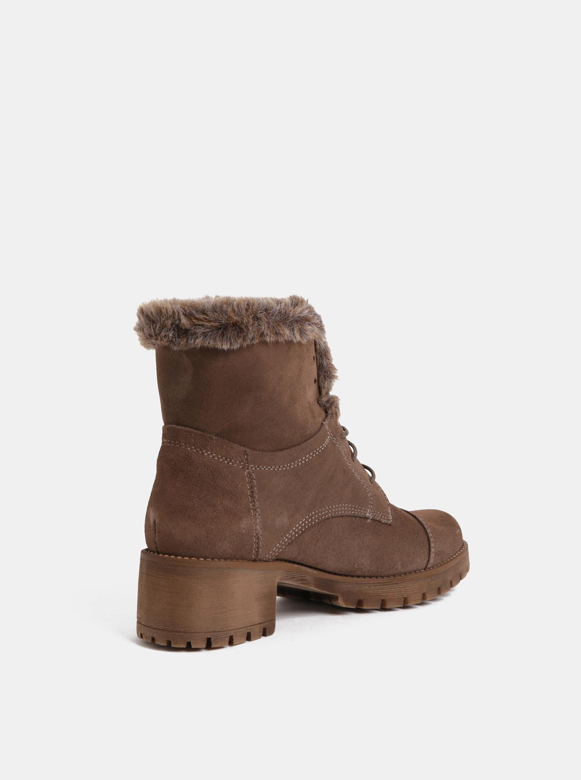 e835ea587736 Hnedé semišové členkové topánky s umelou kožušinkou OJJU ...