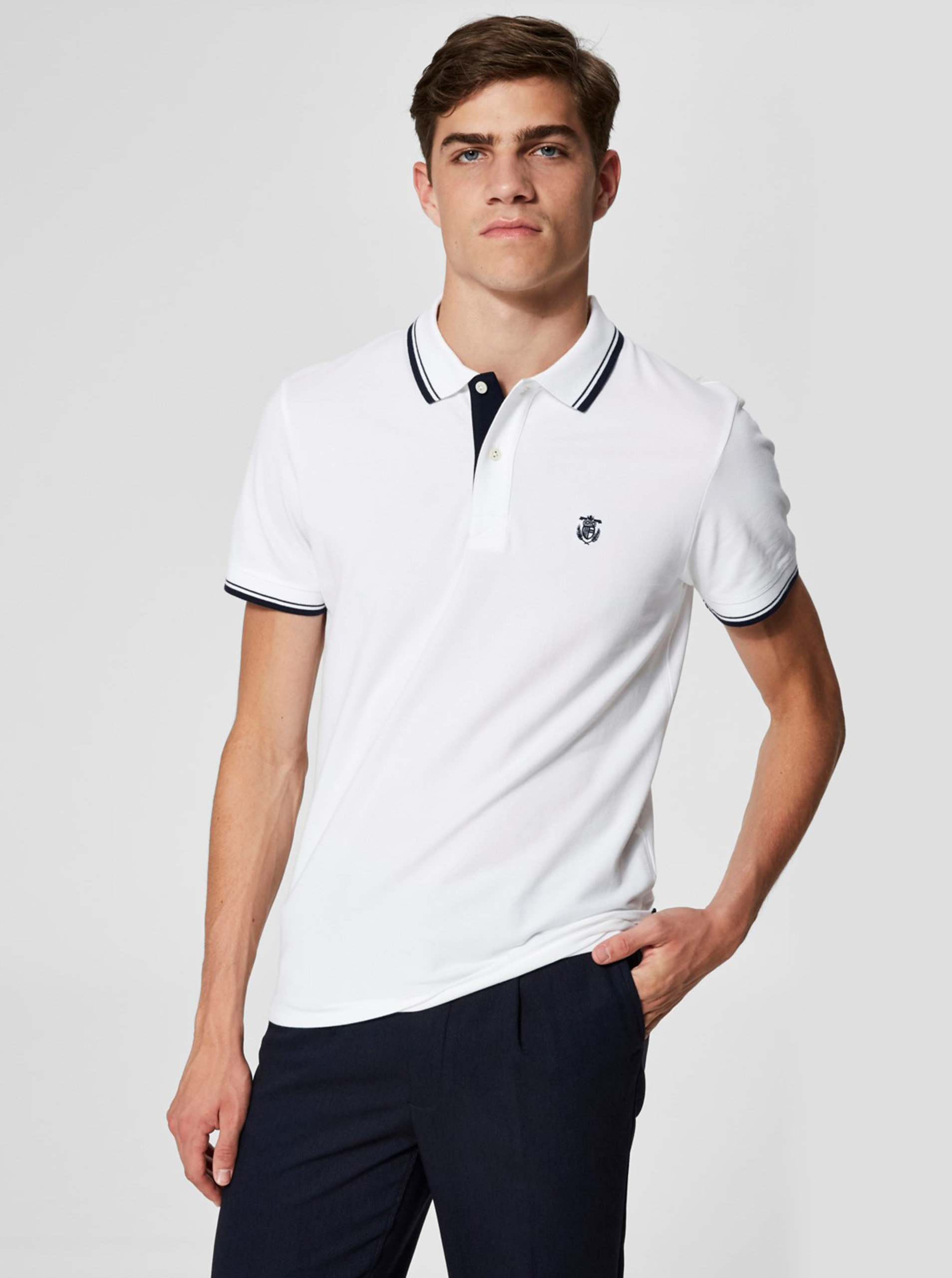 Bílé polo tričko s výšivkou Selected Homme New Season