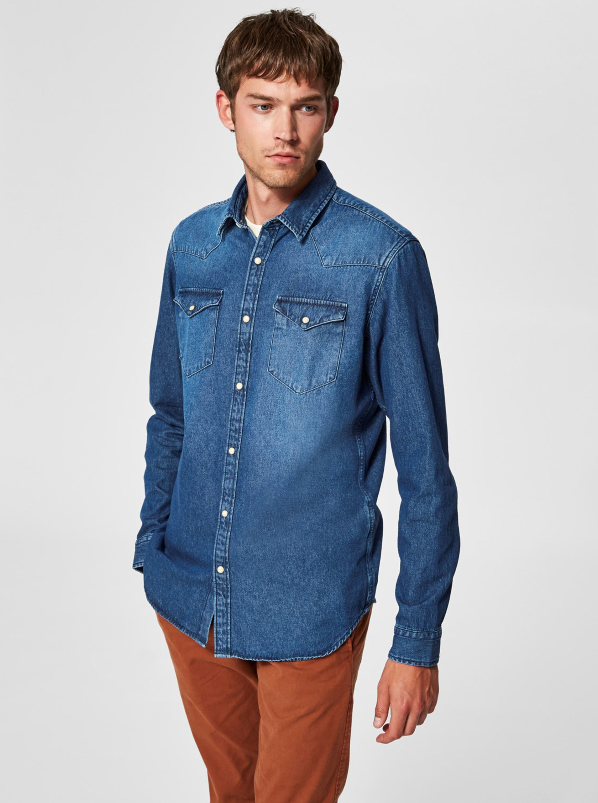 52cad88607 Modrá rifľová slim fit košeľa Selected Homme ...