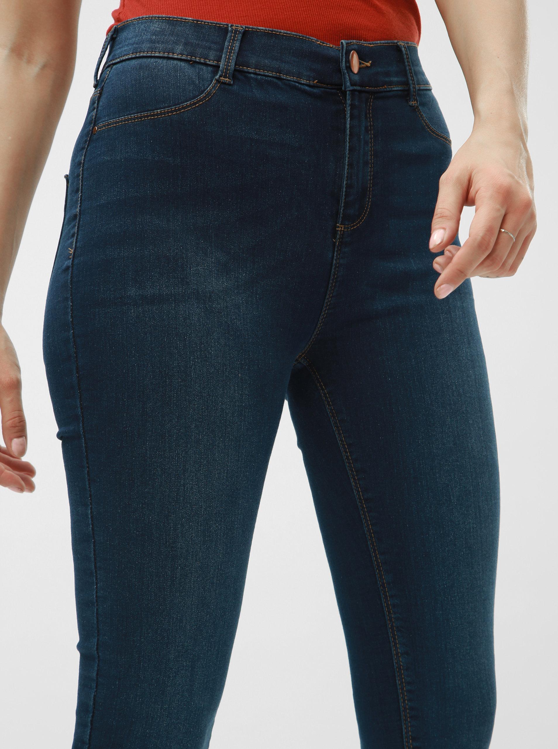 Modré super skinny džíny s vysokým pasem Dorothy Perkins Tall Frankie ... d8d58153a0