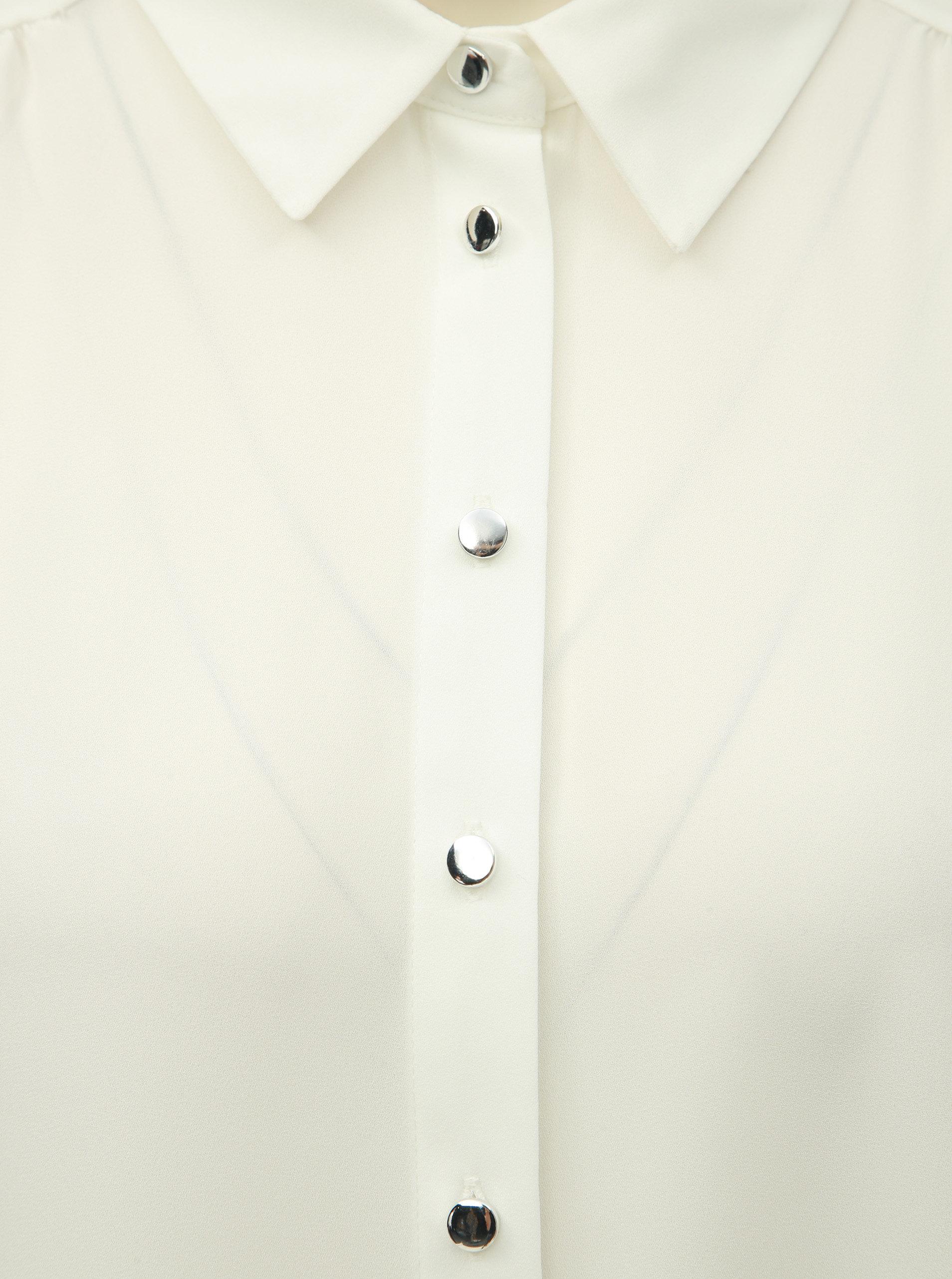 8a34ecb3db5 Bílá halenka s knoflíky ve stříbrné barvě Dorothy Perkins Petite ...
