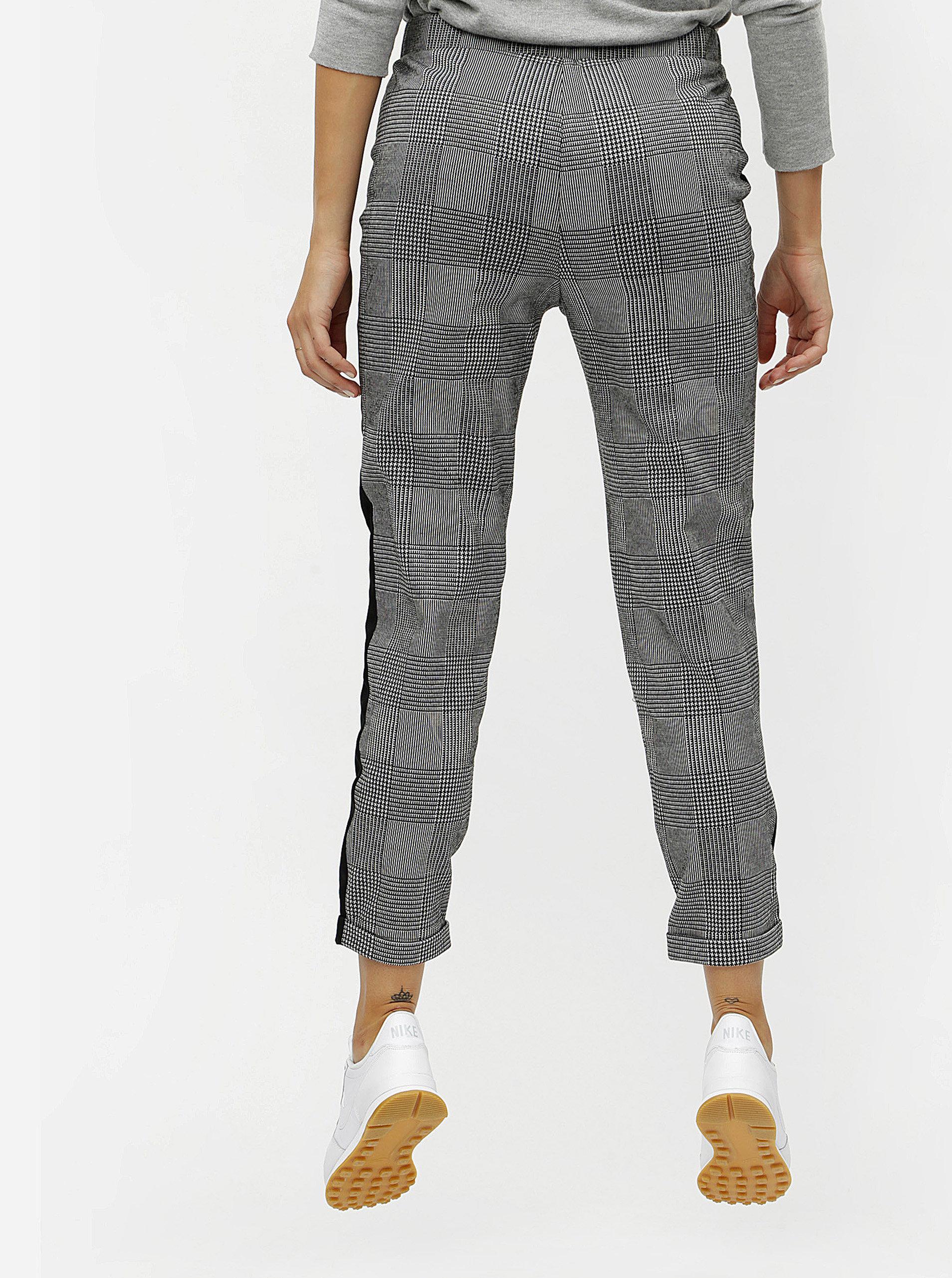 034f6c530dd4 Sivé kockované skrátené nohavice s vysokým pásom ONLY Pollie ...