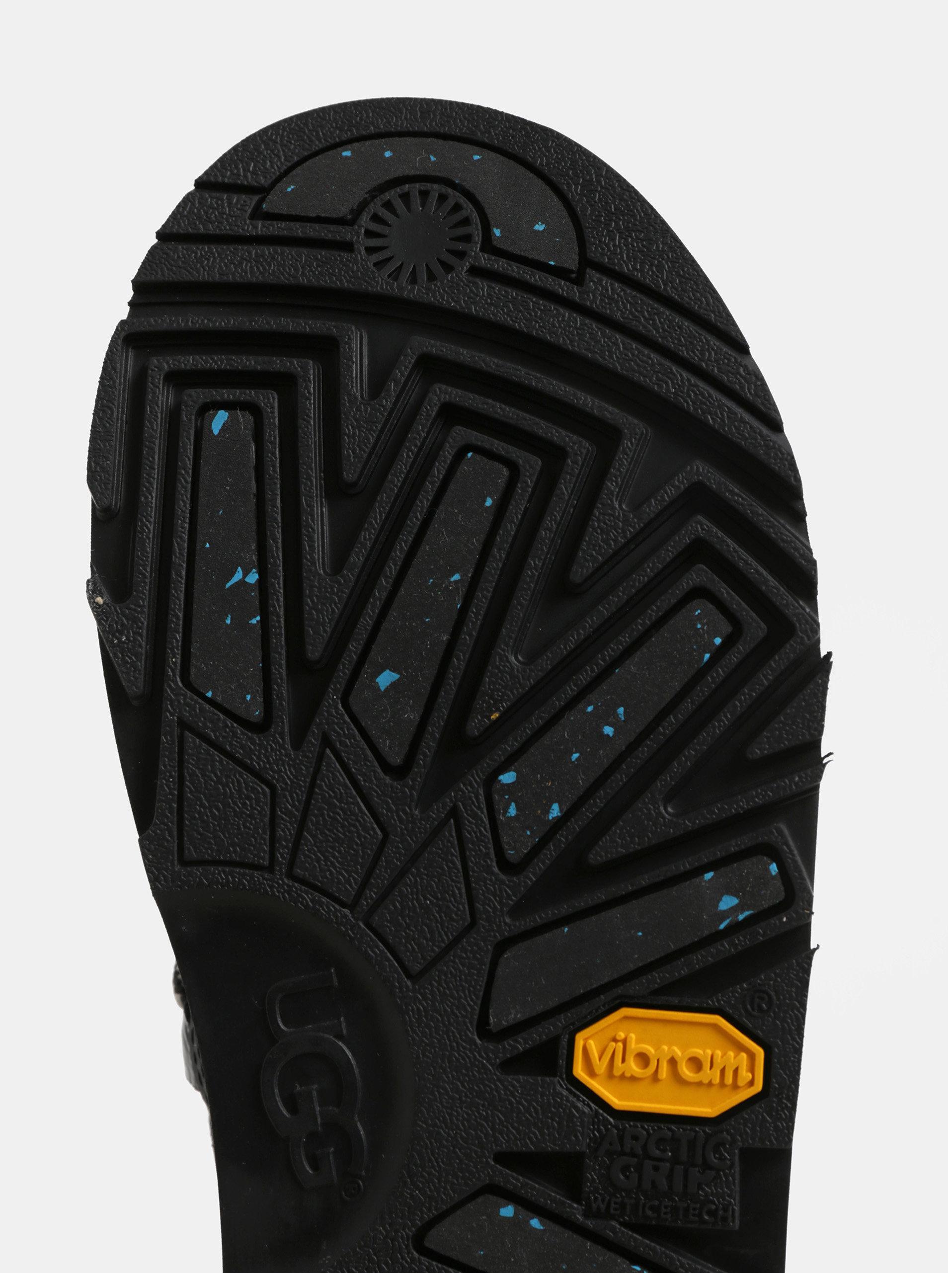Čierne nepremokavé kožené zimné topánky s umelou kožušinkou UGG Highland ... e85be99da90