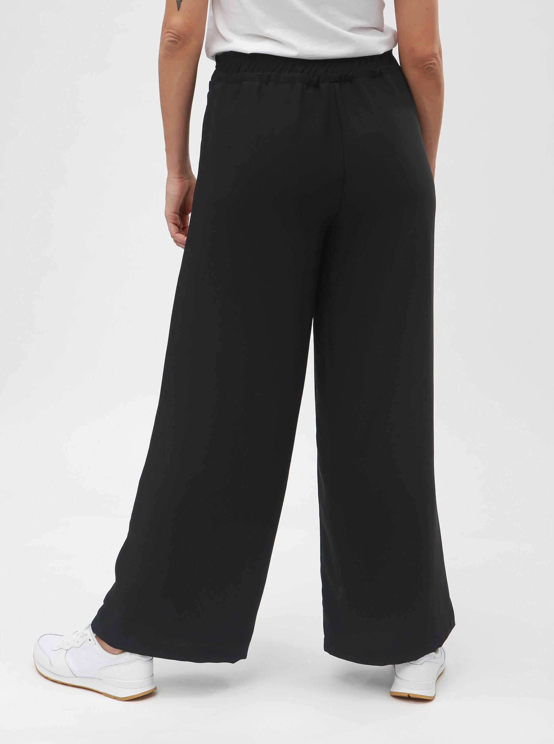 Černé volné kalhoty s vysokým pasem VERO MODA Nim Wide ... 5242569bff