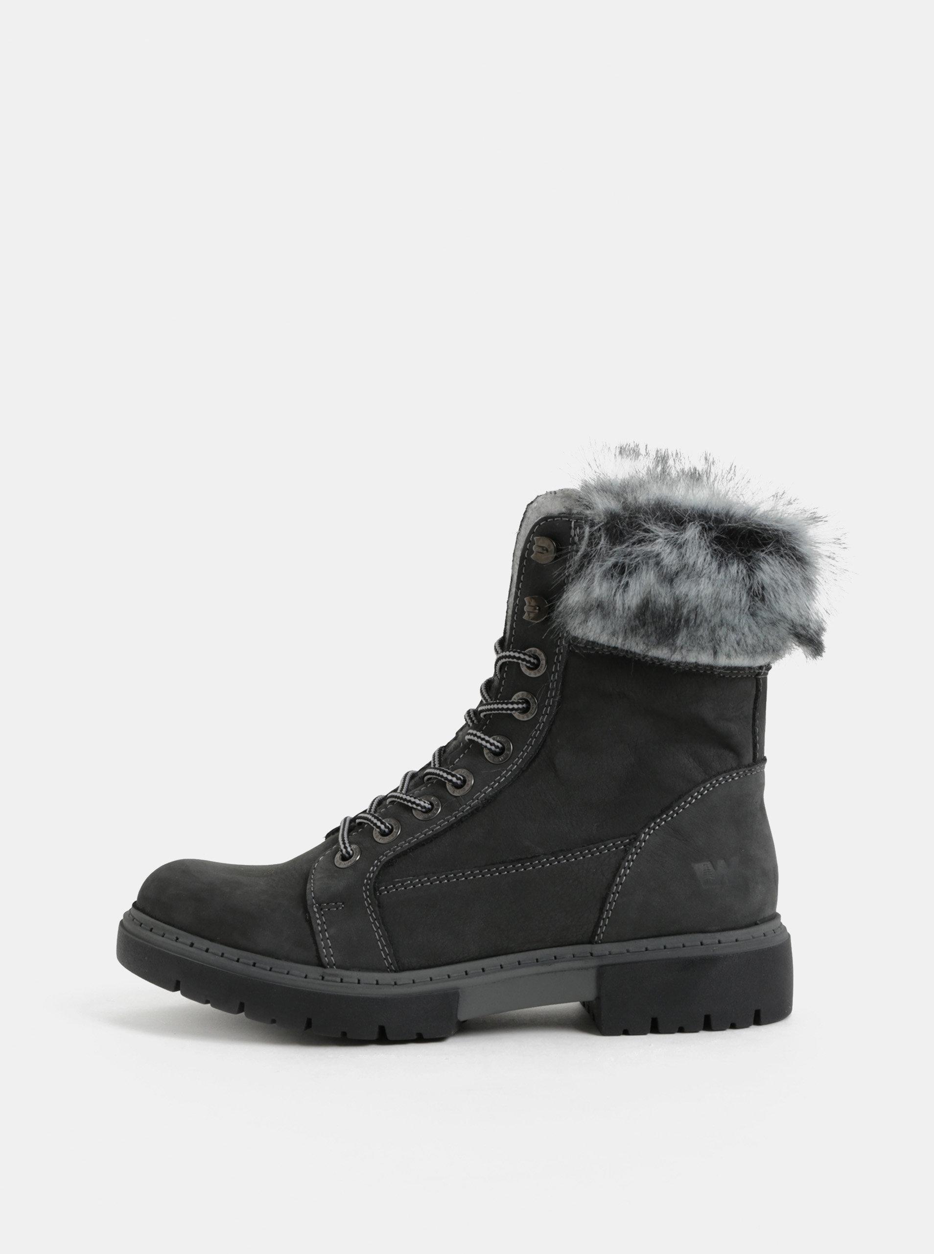 7caed3bc75e Šedé dámské kožené zimní kotníkové boty s umělým kožíškem Weinbrenner ...