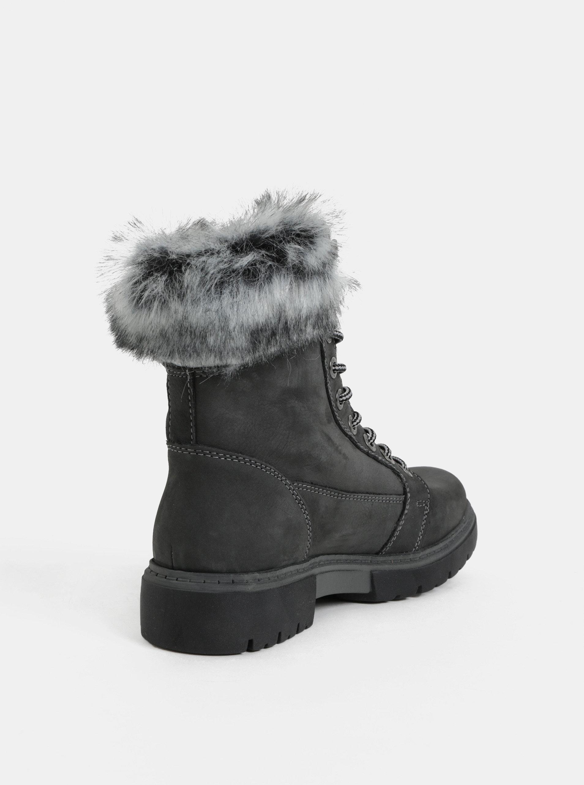 32d93fdcbbdb Sivé dámske zimné kožené členkové topánky s umelou kožušinkou Weinbrenner  ...