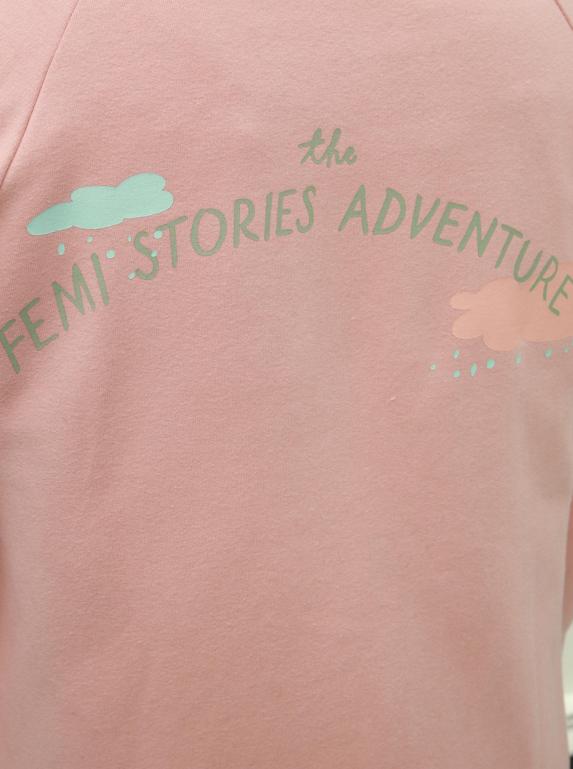 Světle růžová mikina na zip s potiskem Femi Stories ... c5dd87e8b8
