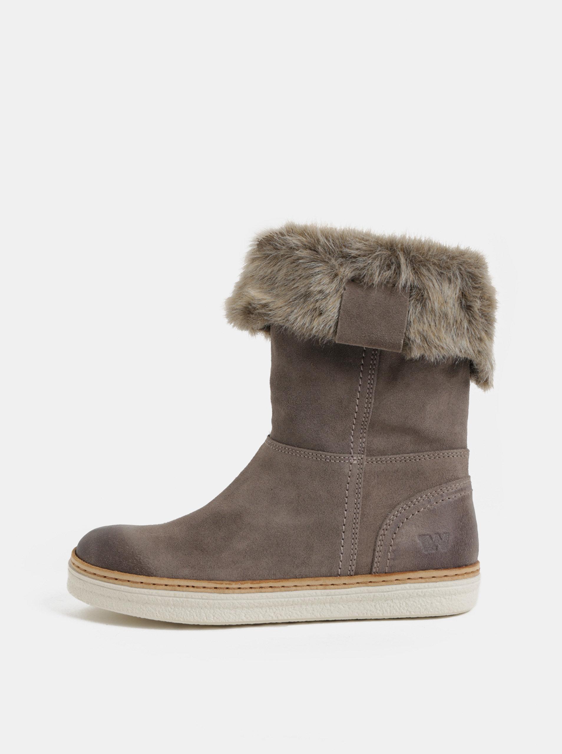 54ca8e753fe Šedé dámské semišové kotníkové zimní boty s umělým kožíškem Weinbrenner ...