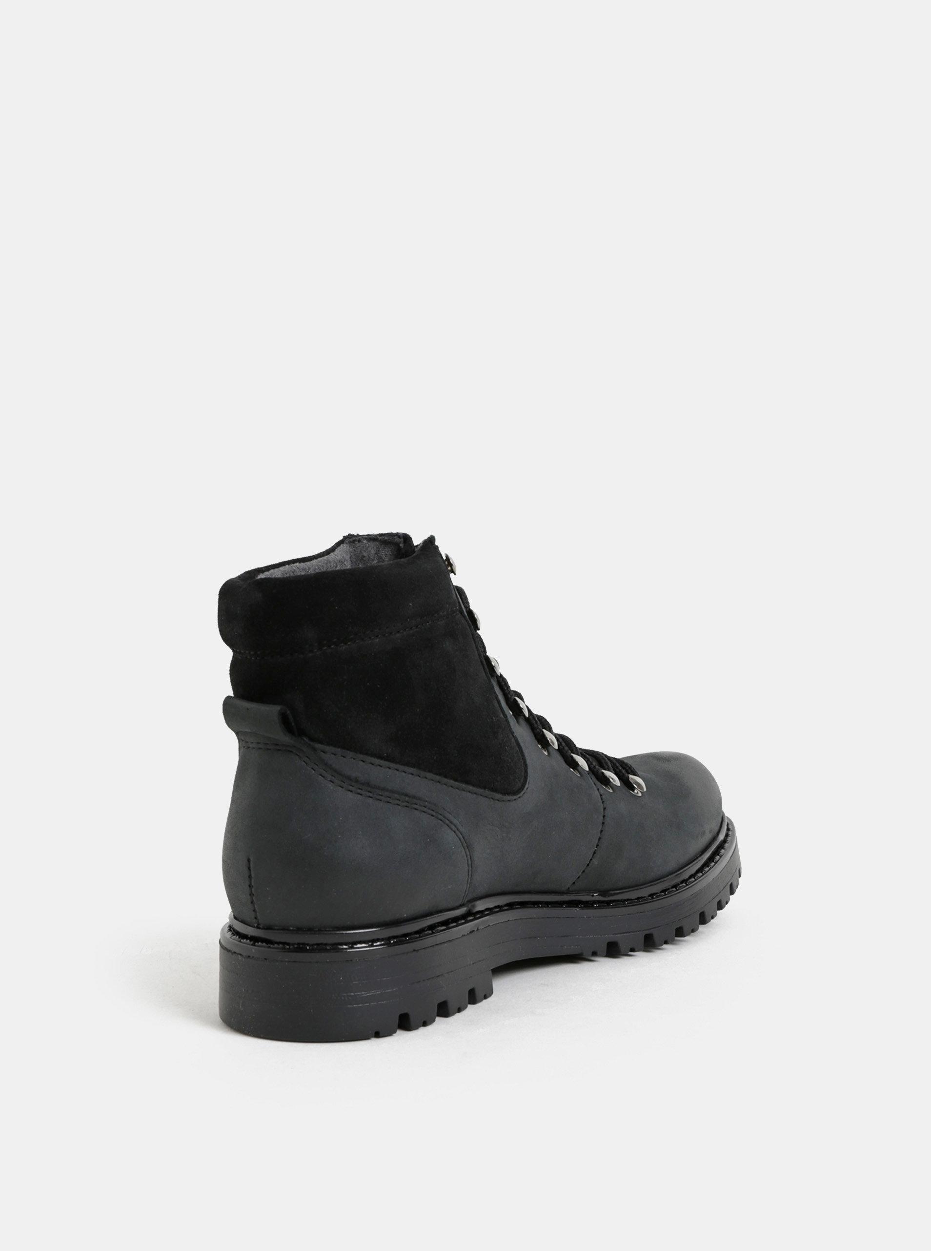 Černo-šedé dámské kožené kotníkové zimní boty se semišovými detaily  Weinbrenner ... a061639bca