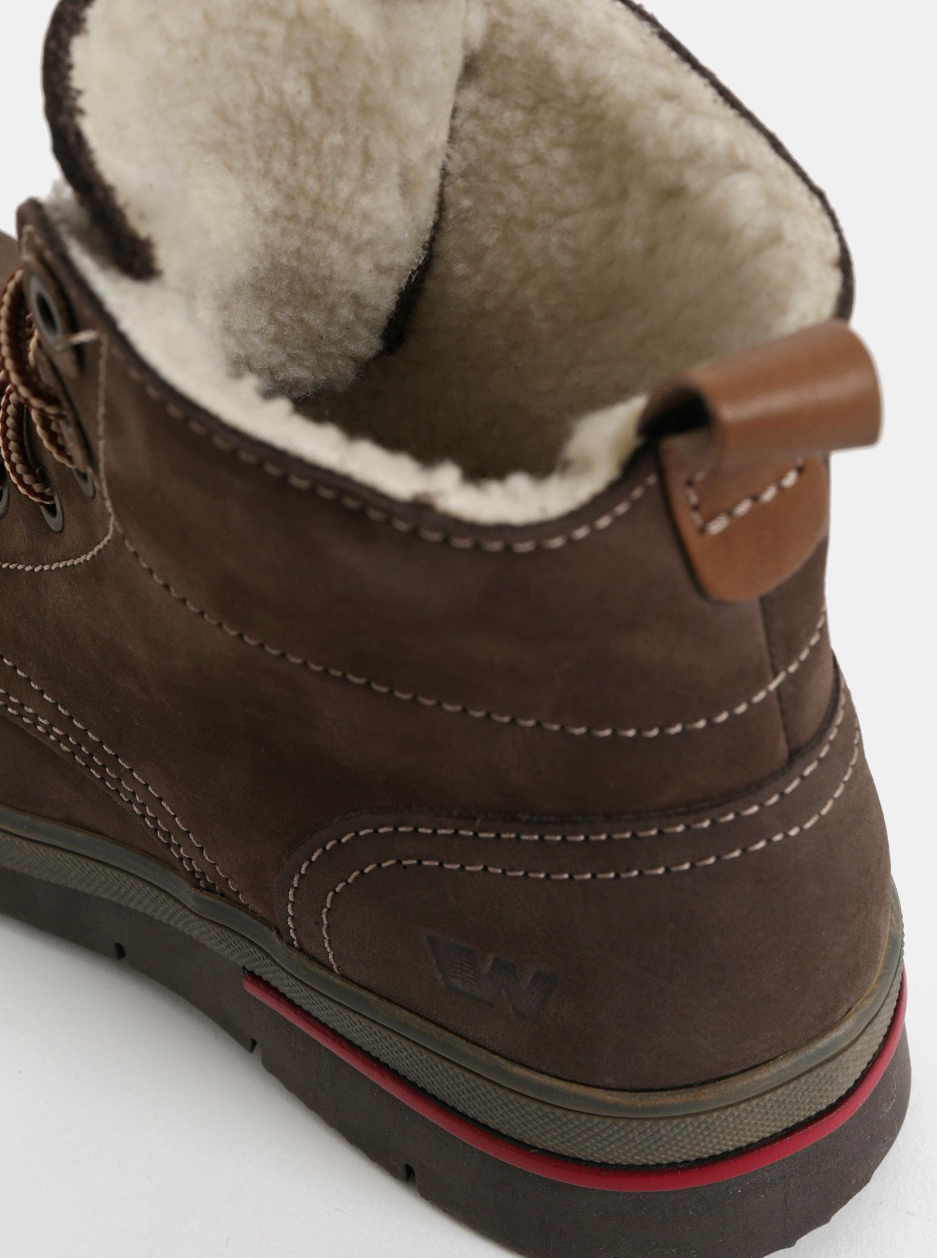 90bad431541e9 Tmavohnedé dámske kožené členkové zimné topánky s umelou vnútornou  kožušinkou Weinbrenner ...