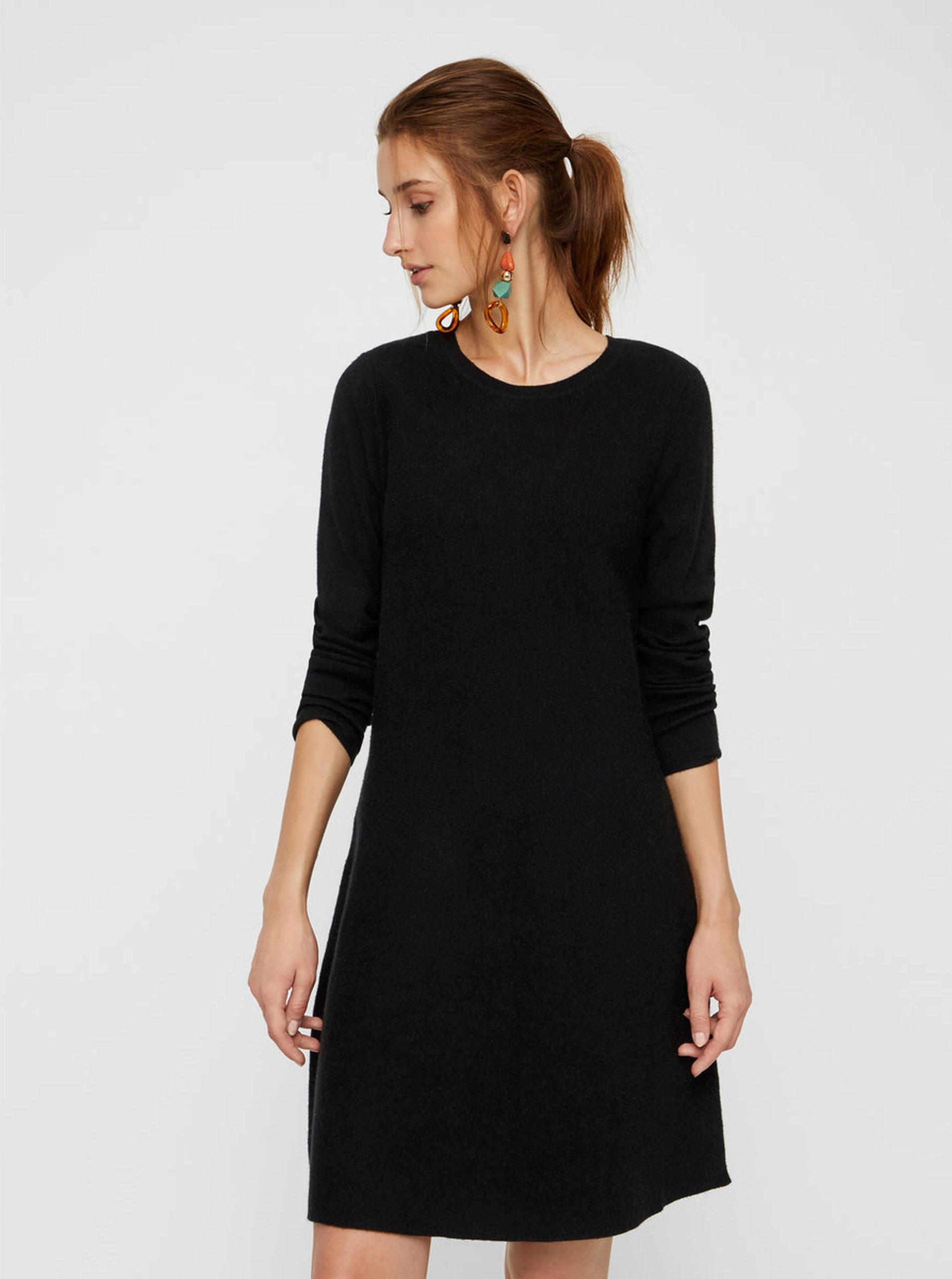 2328b753811d Černé svetrové šaty s dlouhým rukávem VERO MODA Nancy ...