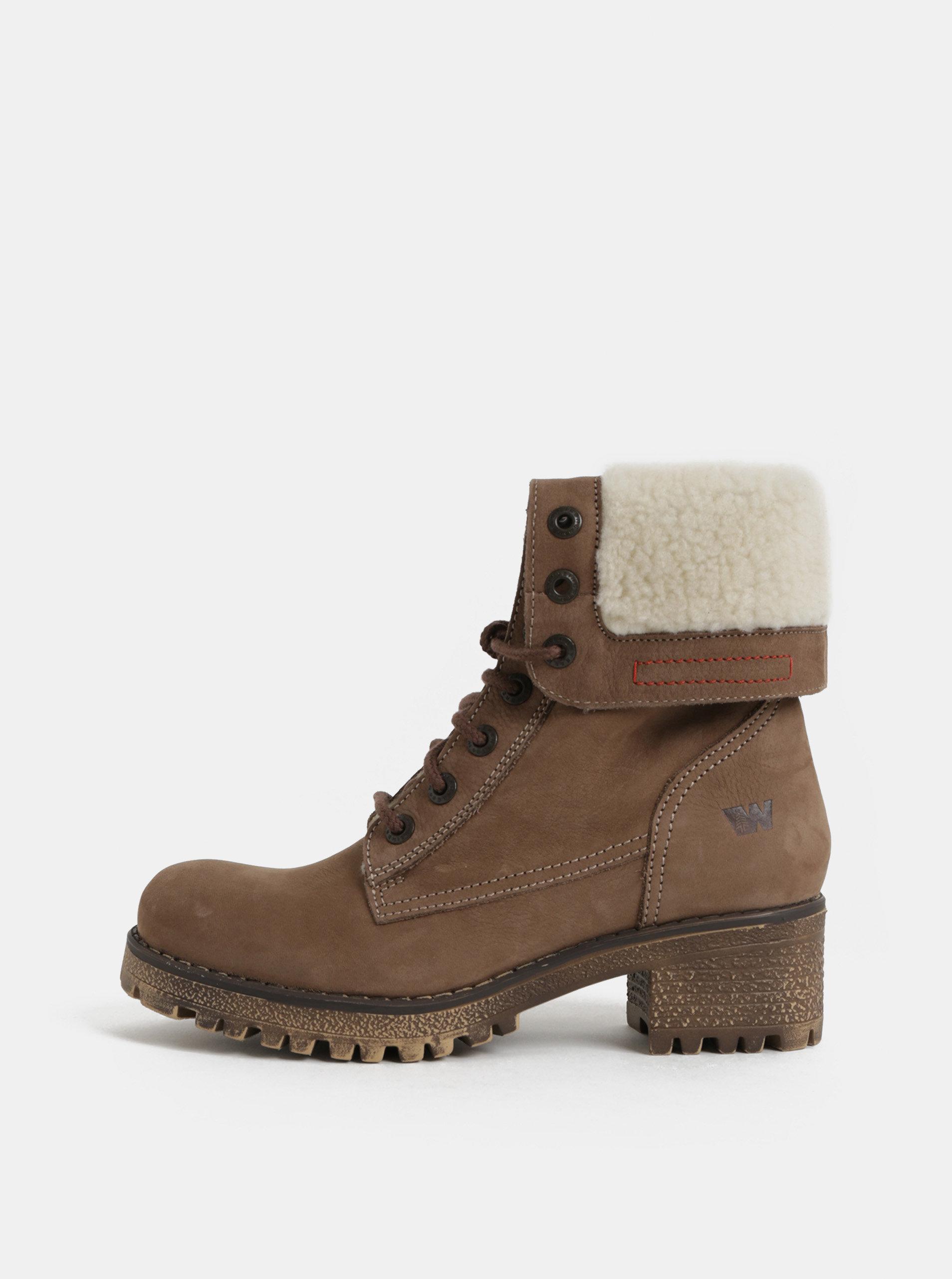Hnedé dámske kožené členkové zimné topánky na podpätku Weinbrenner ... 575f5ae648c