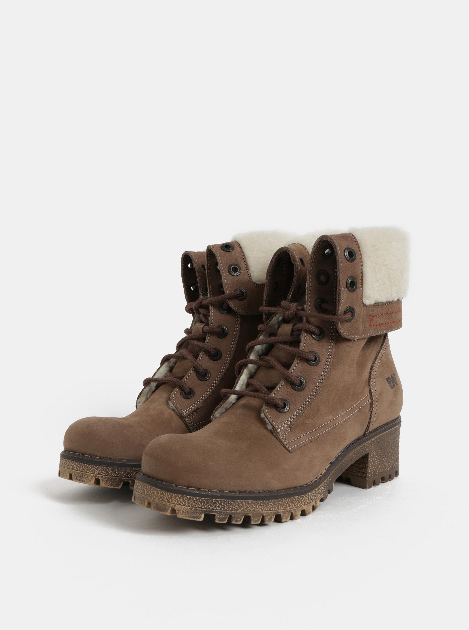 1d958d2d28fa6 Hnedé dámske kožené členkové zimné topánky na podpätku Weinbrenner ...