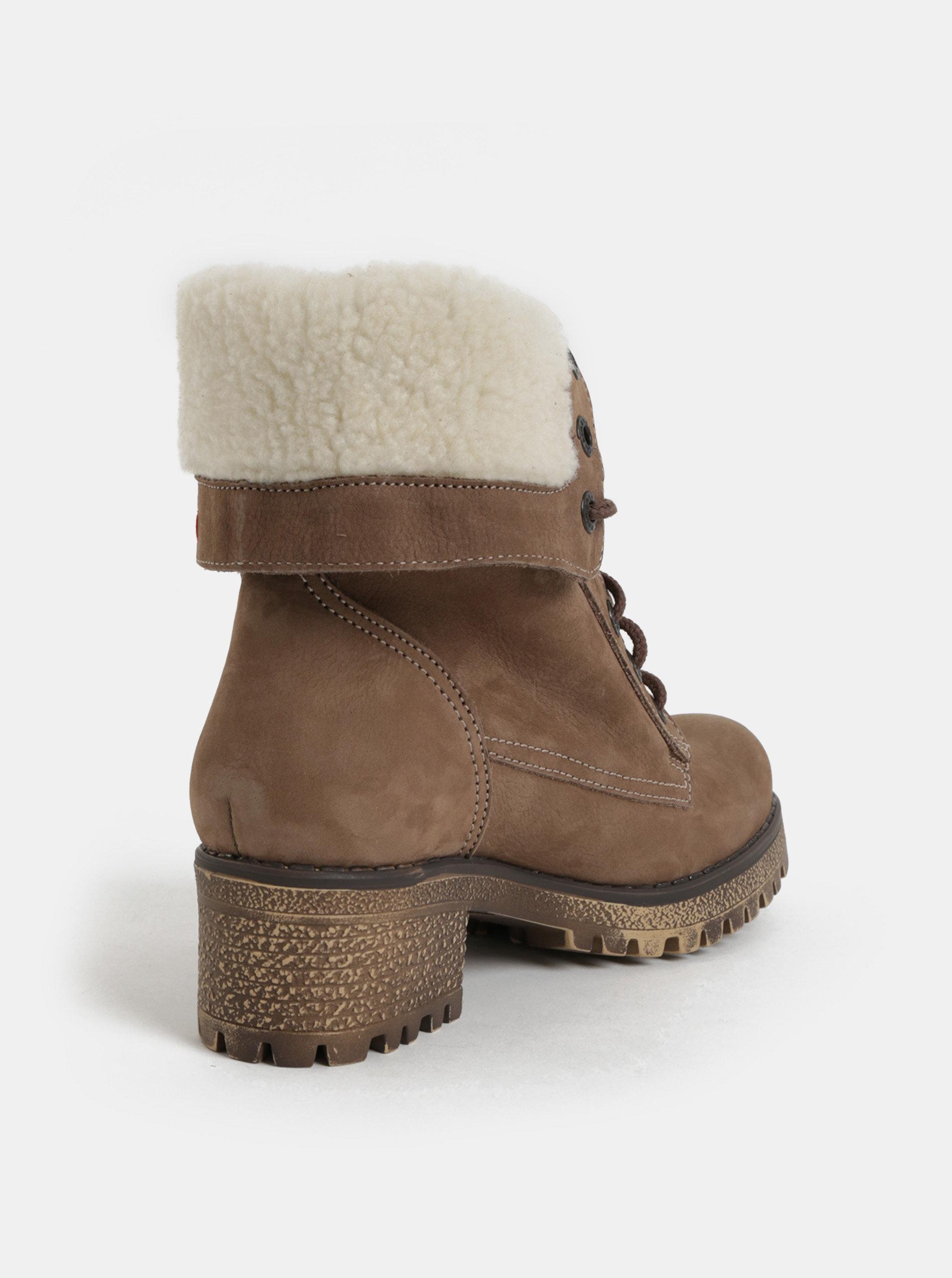 8ad4838929 Hnedé dámske kožené členkové zimné topánky na podpätku Weinbrenner ...