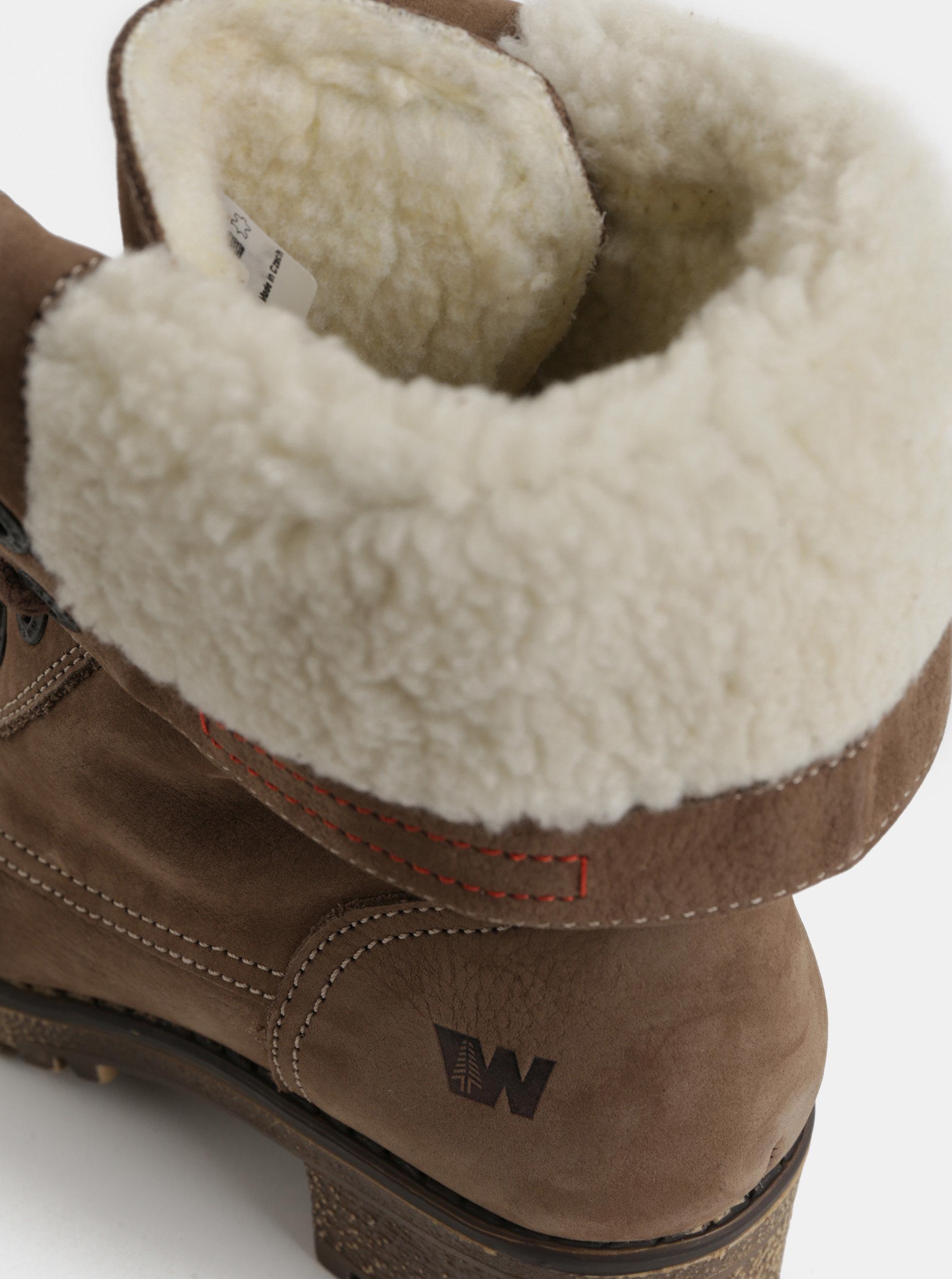 Hnedé dámske kožené členkové zimné topánky na podpätku Weinbrenner ... 67c509df22d