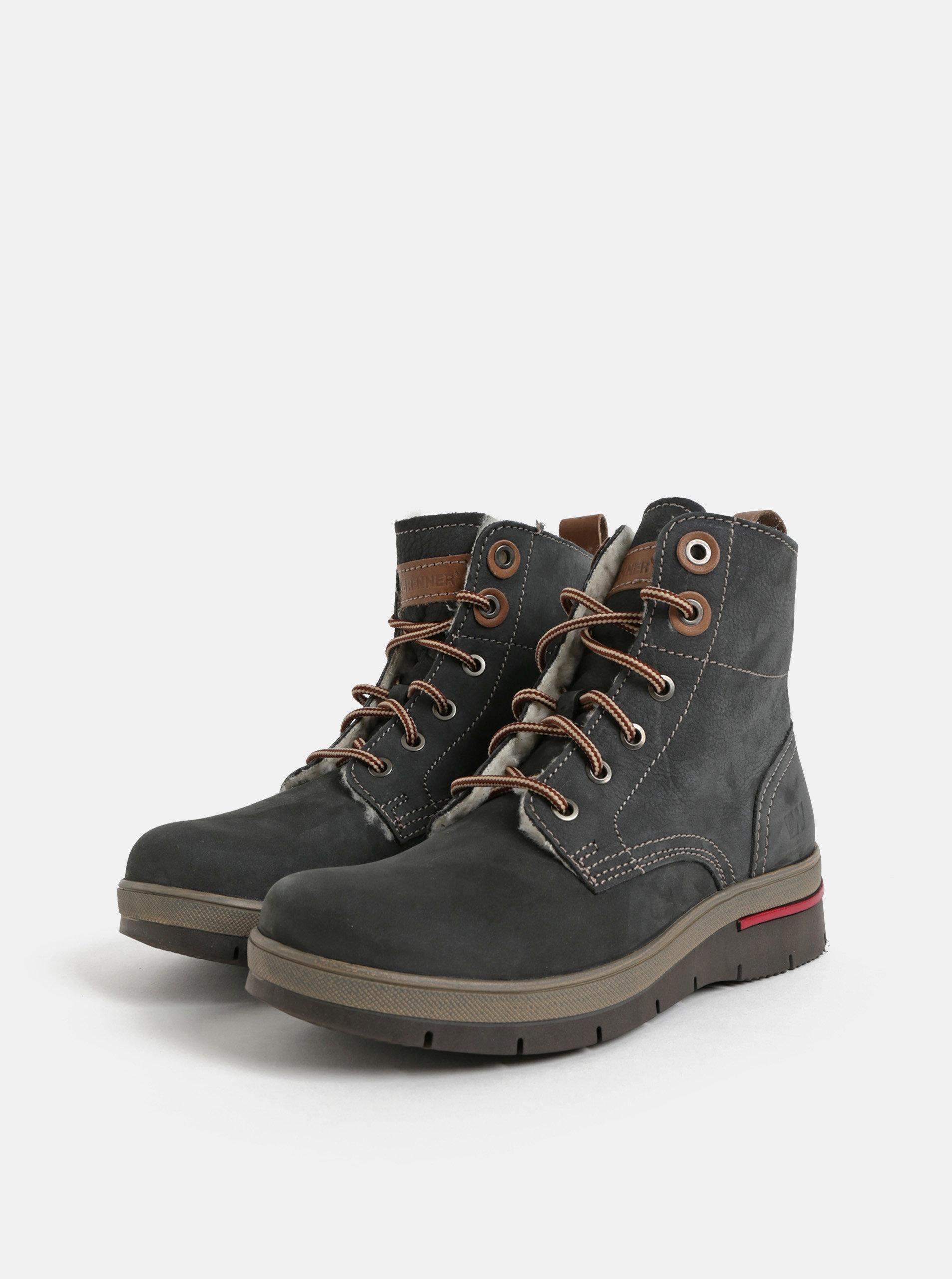 41028caec9 Tmavosivé dámske kožené členkové zimné topánky s umelou vnútornou  kožušinkou Weinbrenner ...