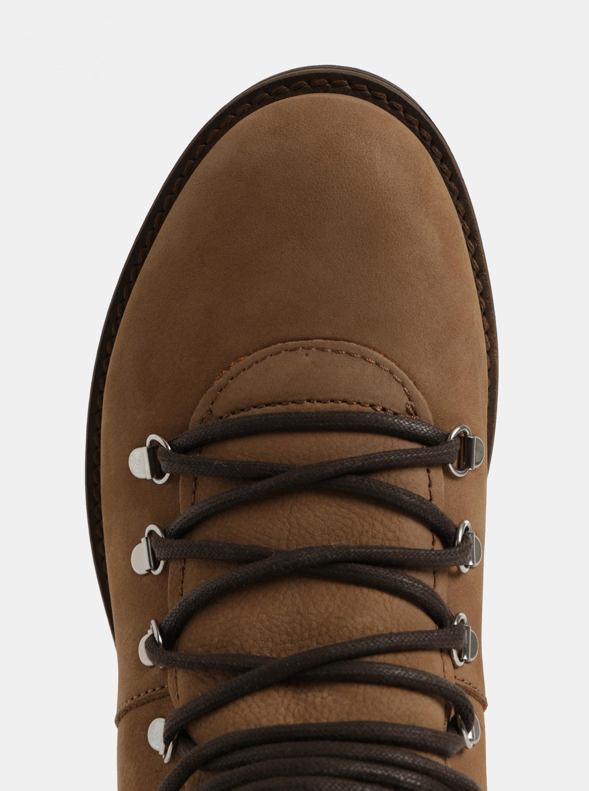 Hnedé pánske kožené členkové topánky Weinbrenner ... b3e94646ef3