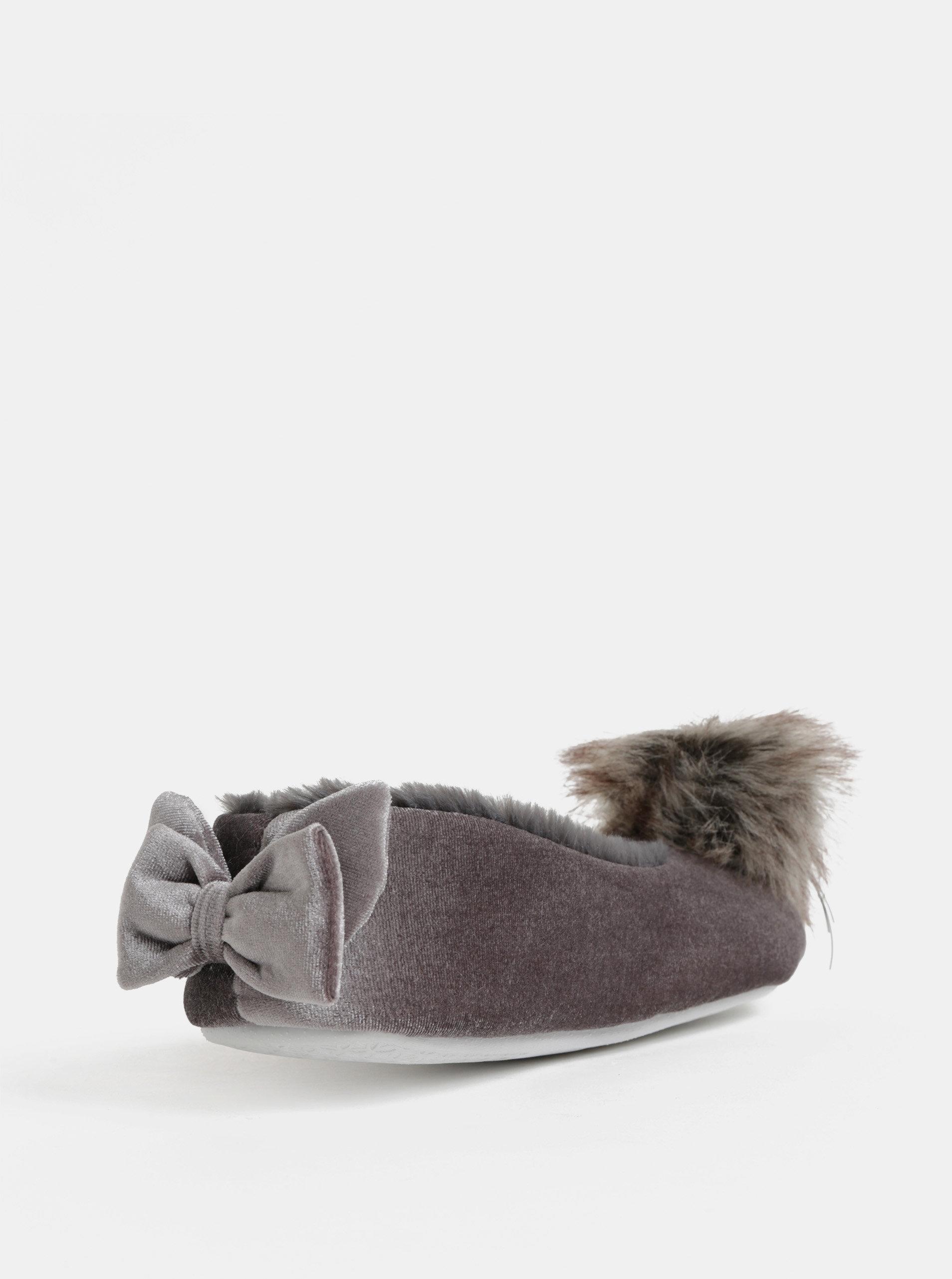 f1a911444 Sivé papuče s brmbolcom a mašľou v darčekovom balení Something Special ...