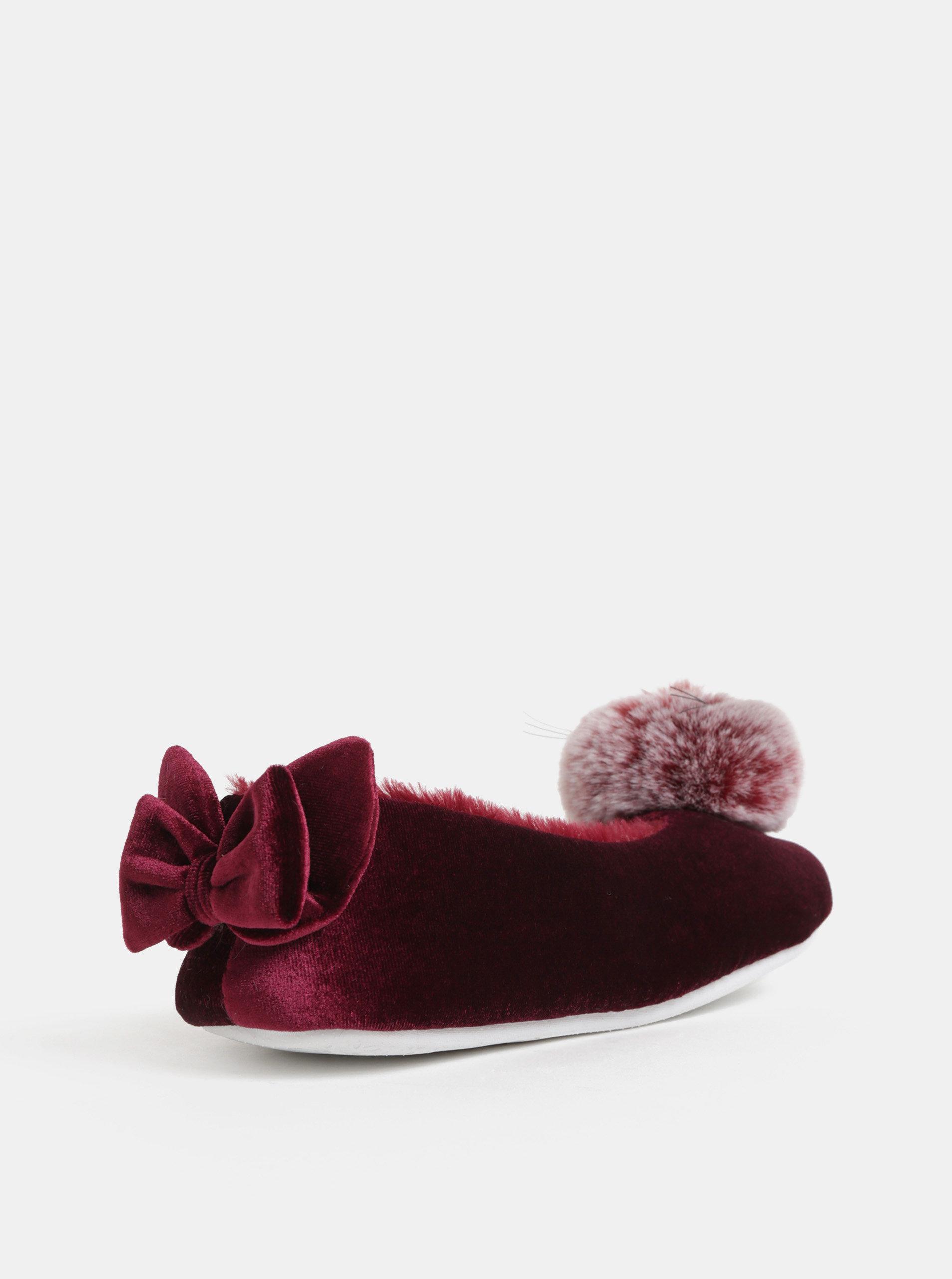 72a5f1ceb Vínové papuče s brmbolcom a mašľou v darčekovom balení Something Special ...