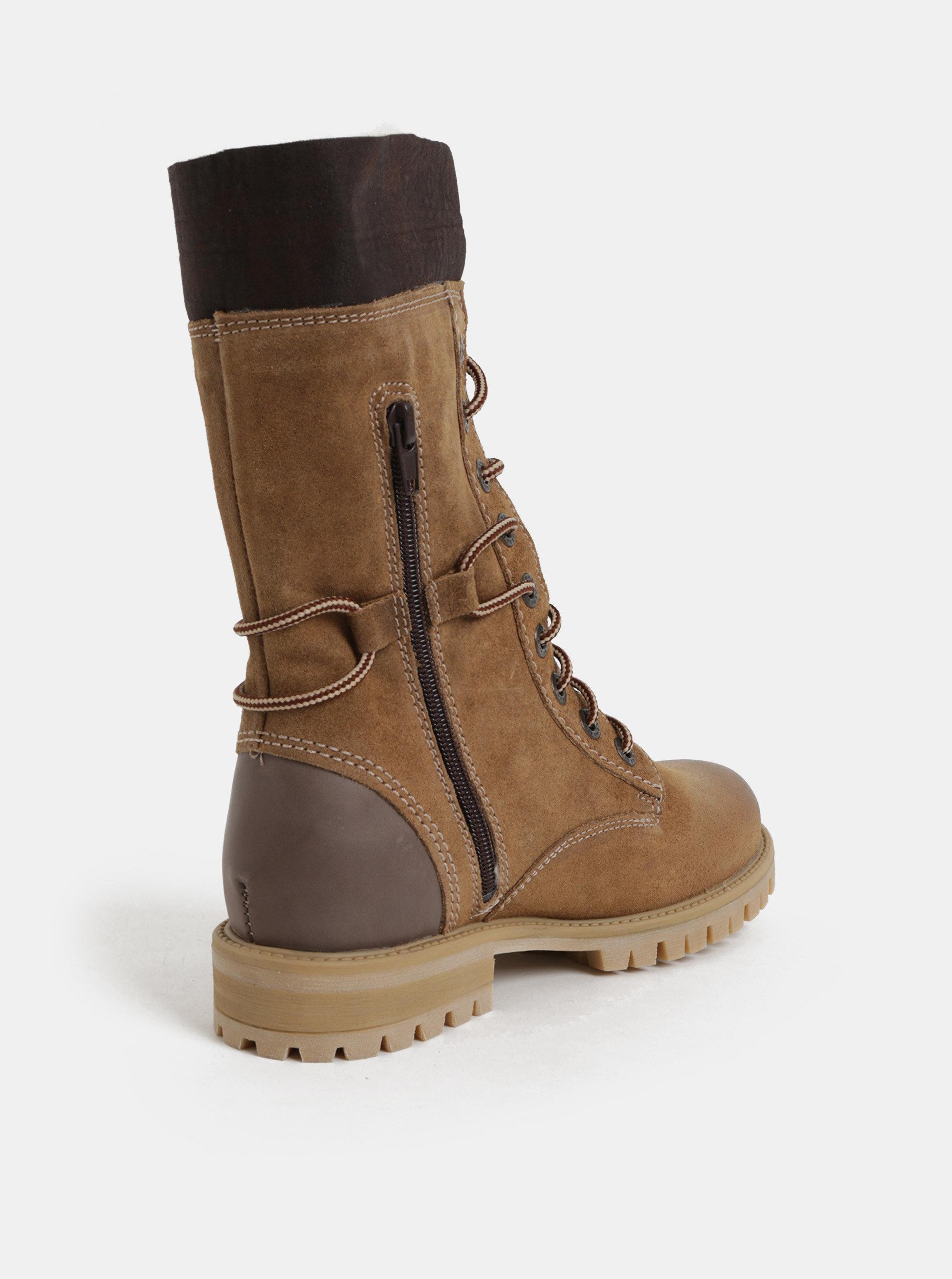c2f2920a49de Hnedé dámske semišové členkové zimné topánky so šnurovaním Weinbrenner ...