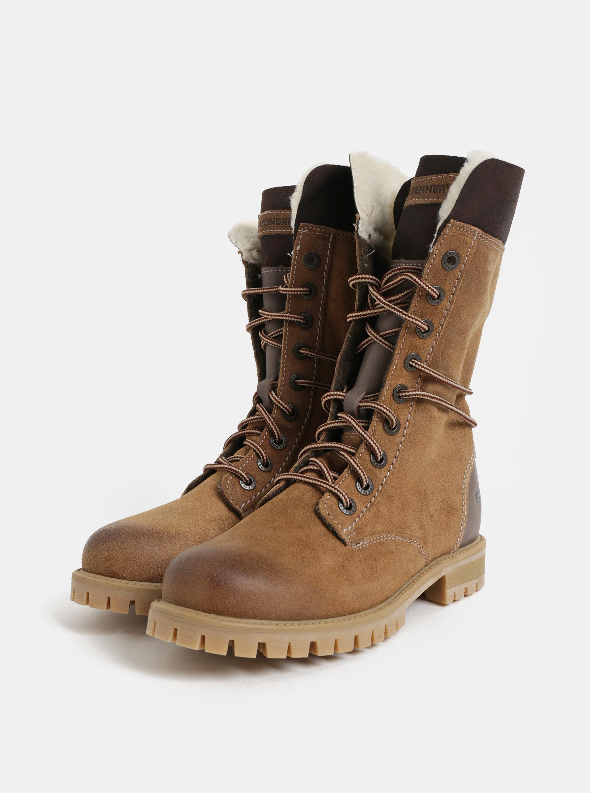 d7d60fa8df Hnedé dámske semišové členkové zimné topánky so šnurovaním Weinbrenner ...