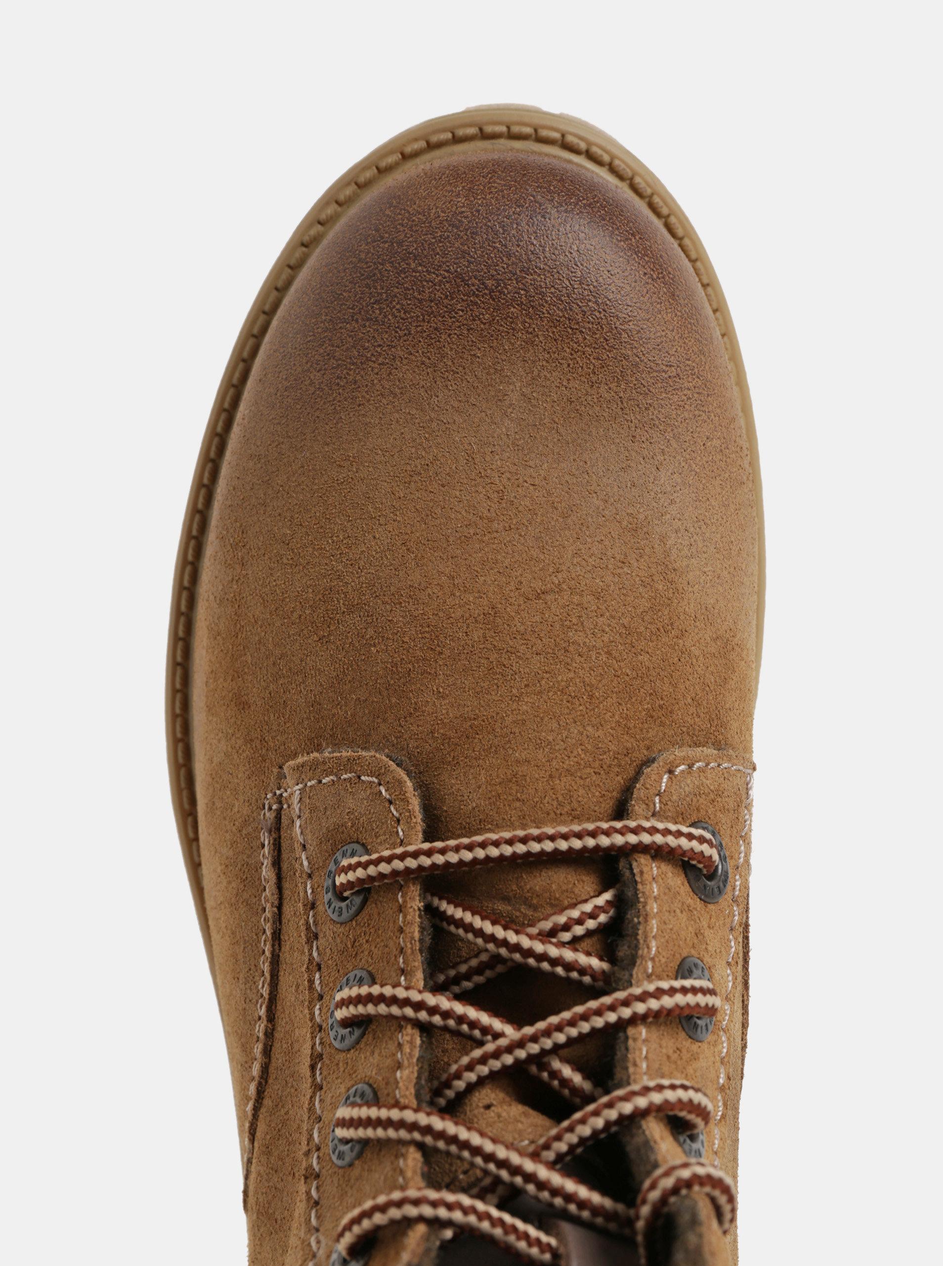 9597bf956b84d Hnedé dámske semišové členkové zimné topánky so šnurovaním Weinbrenner ...