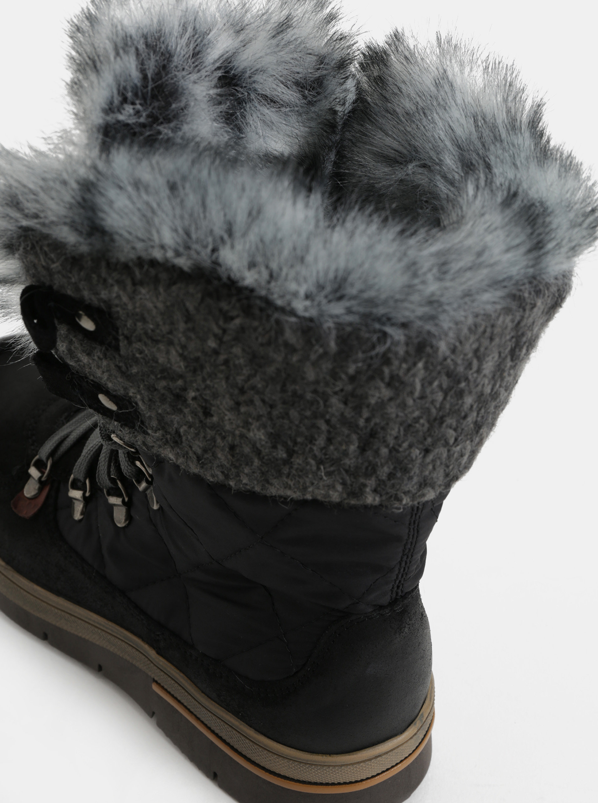 80b86f3d252 Šedo-černé dámské zimní boty se semišovými detaily Weinbrenner ...