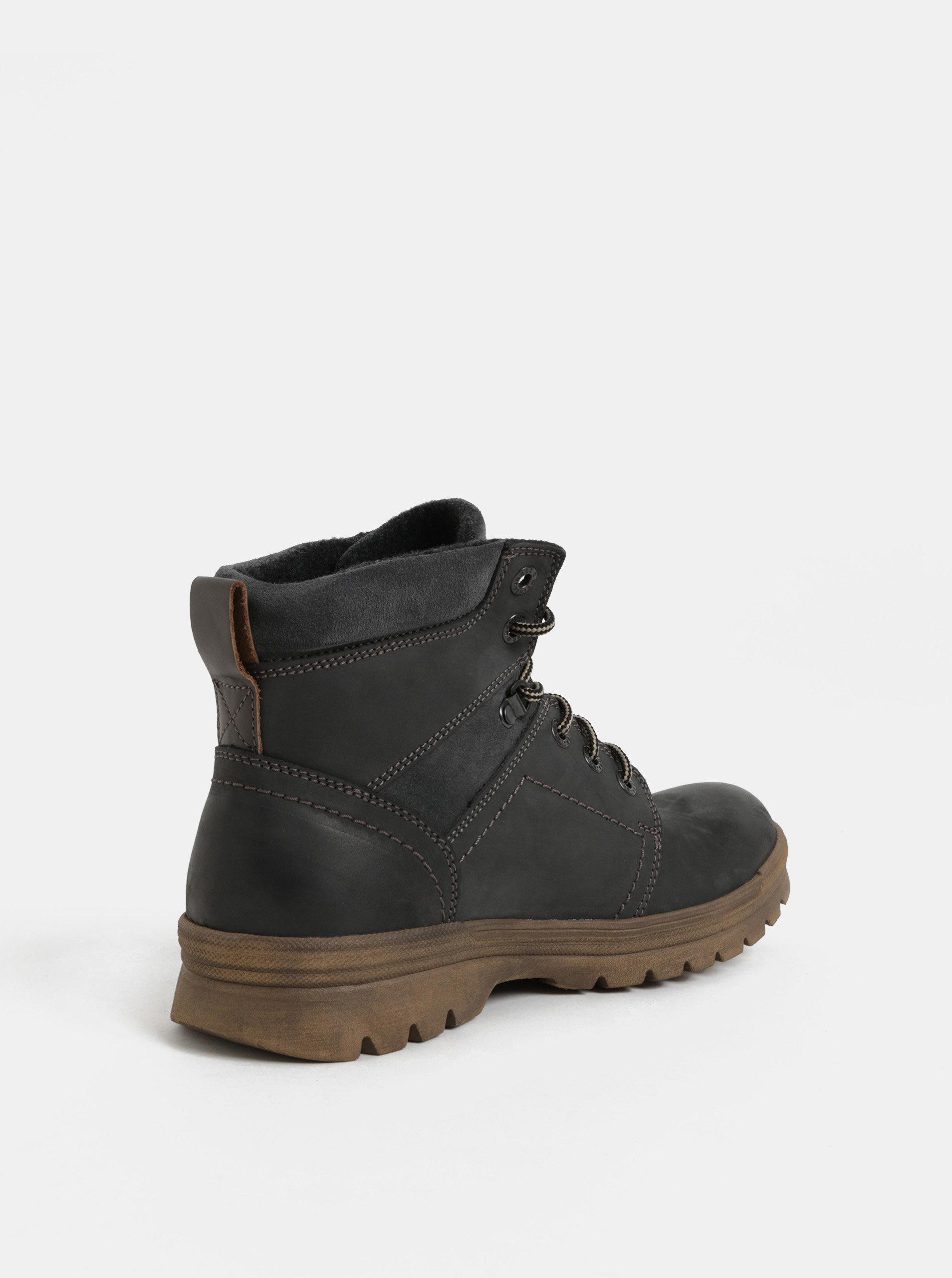 3b70b05ac3 Tmavosivé pánske kožené členkové zimné topánky so semišovými detailmi  Weinbrenner ...