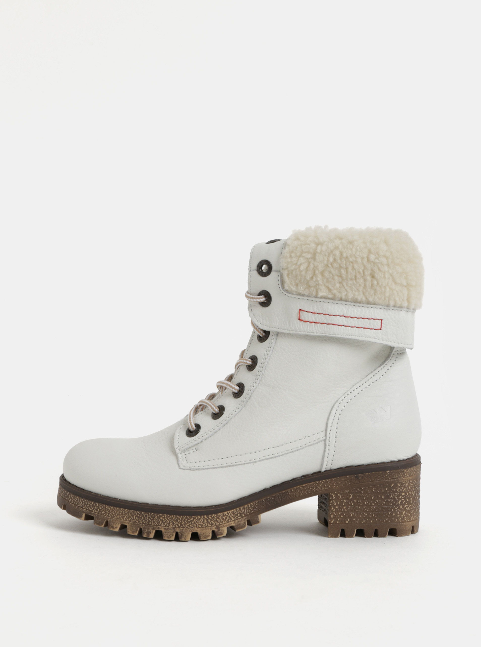Biele dámske kožené členkové zimné topánky na podpätku Weinbrenner ... 2fc28df012c