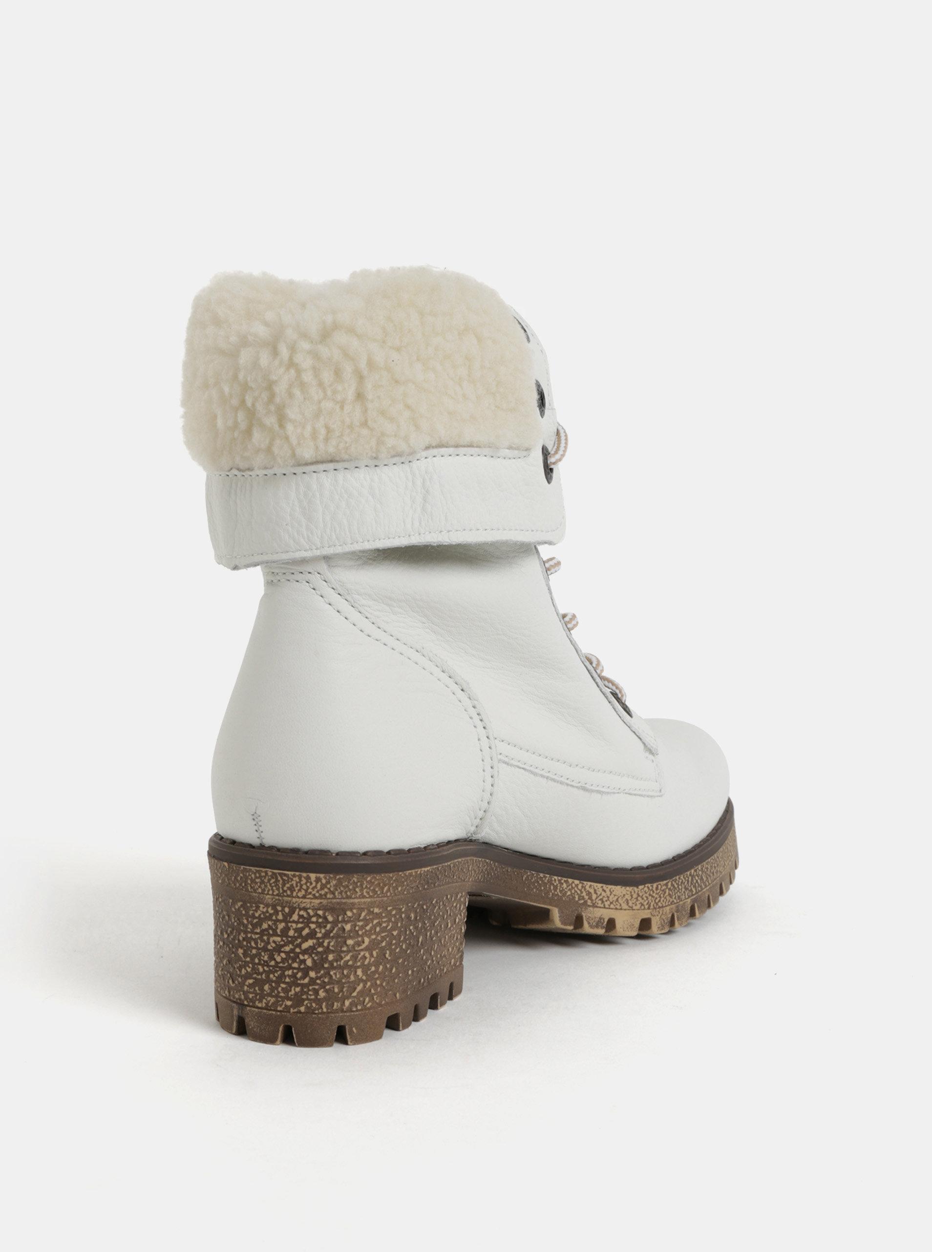 Biele dámske kožené členkové zimné topánky na podpätku Weinbrenner ... e195c680629