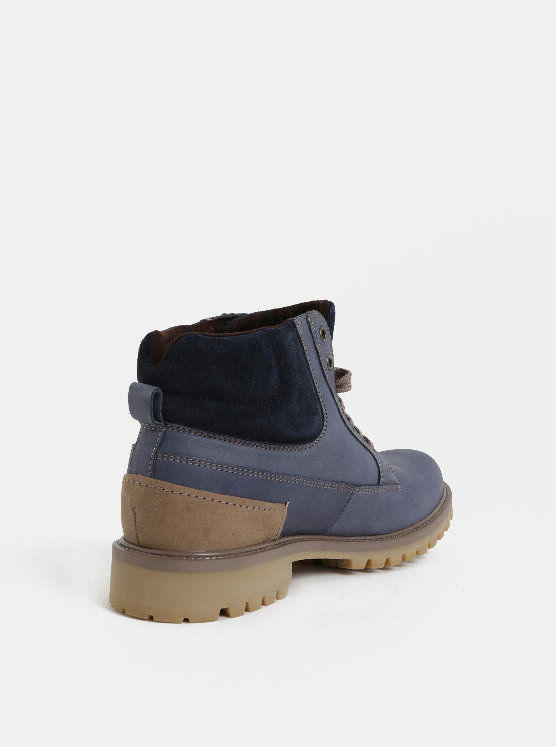 f28f5d7acbf1 Modré pánské kožené kotníkové zimní boty se semišovými detaily Weinbrenner  ...