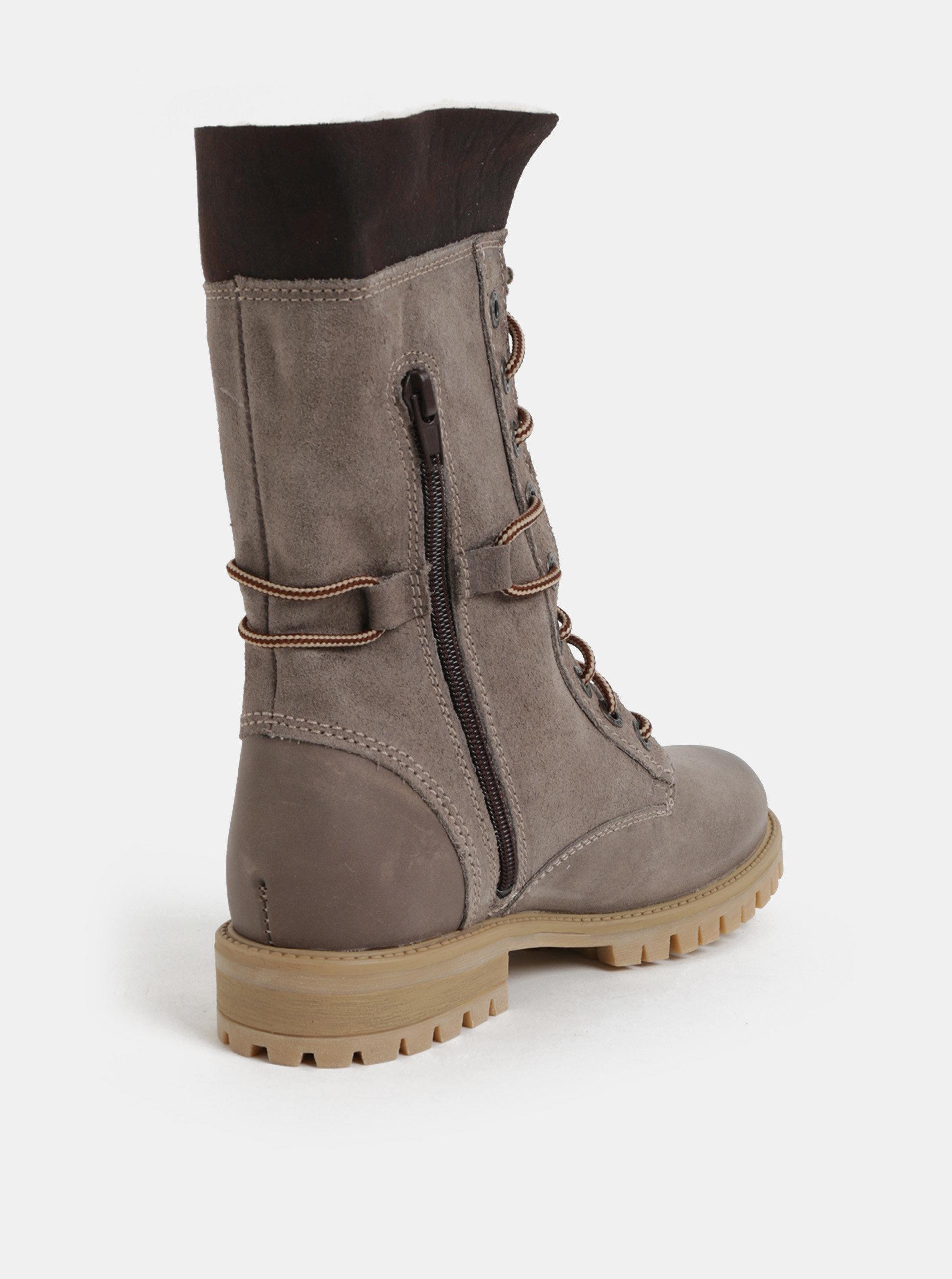 d0904a6f6b91 Sivé dámske semišové členkové zimné topánky so šnurovaním Weinbrenner ...