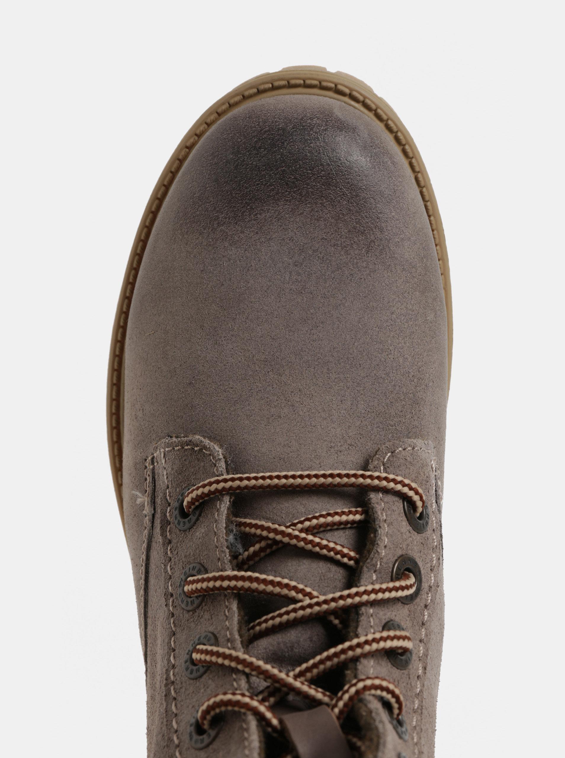e49f74aee Sivé dámske semišové členkové zimné topánky so šnurovaním Weinbrenner ...