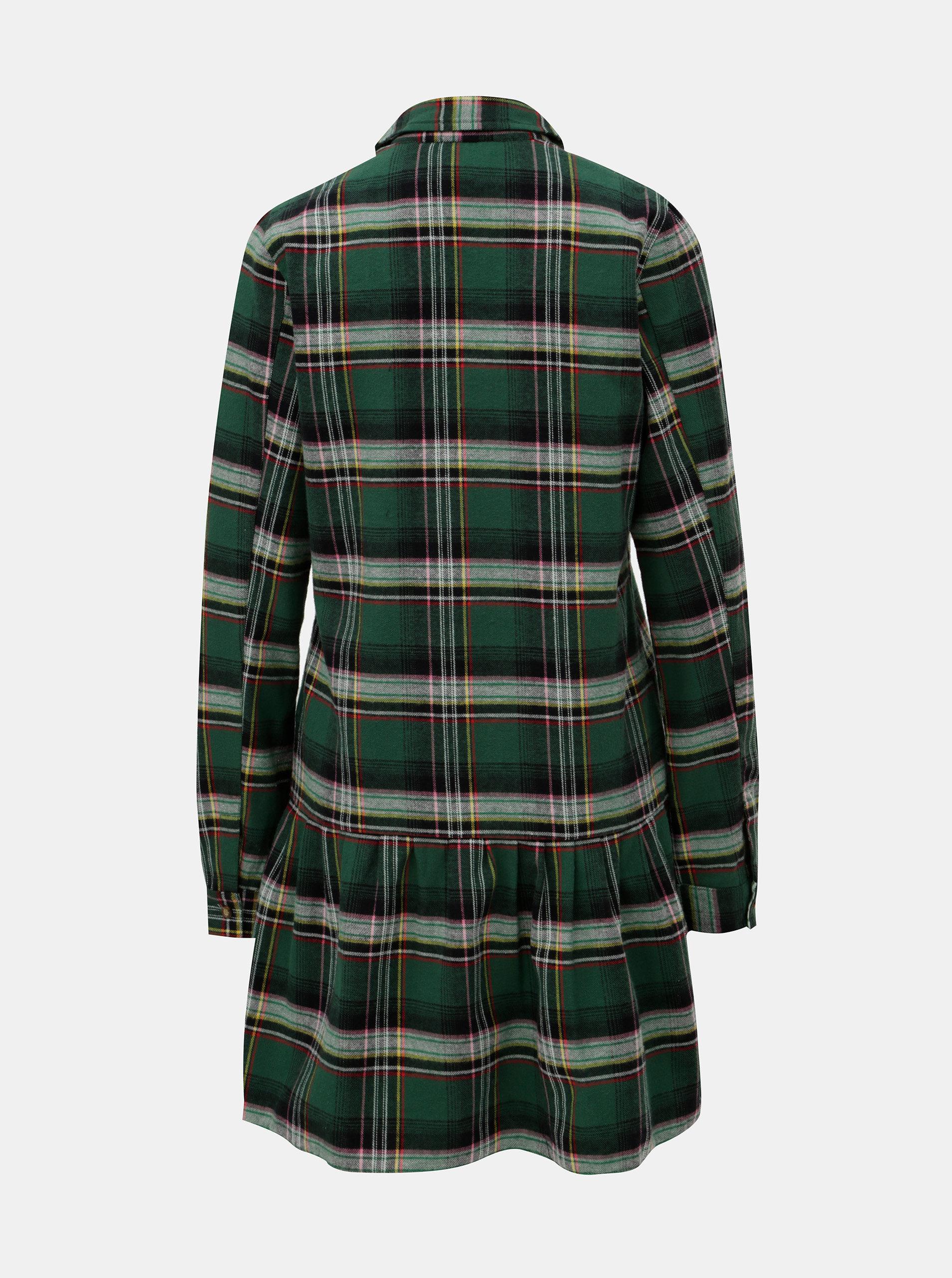 61326410e96 Tmavě zelené kostkované košilové šaty Femi Stories ...