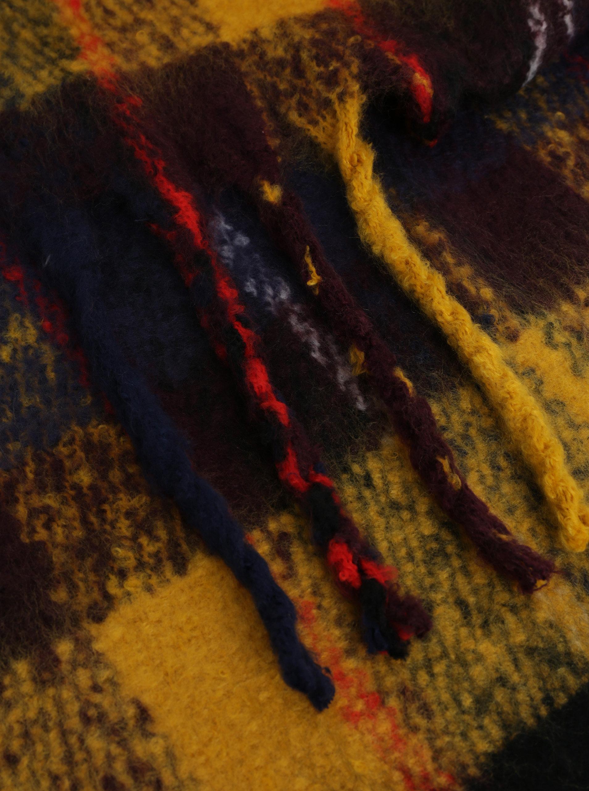 56d42ed4f28 Modro-žlutá kostkovaná šála Pieces Kara ...