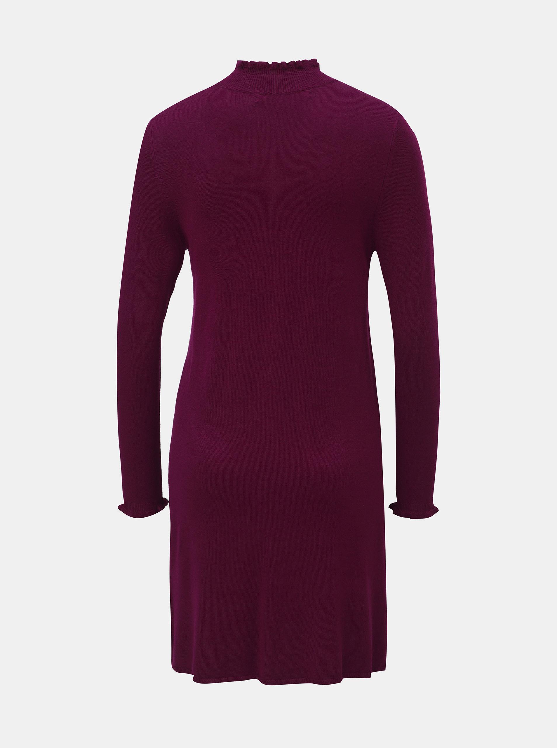 722f89452bea Tmavě růžové svetrové šaty se stojáčkem ONLY Mila ...