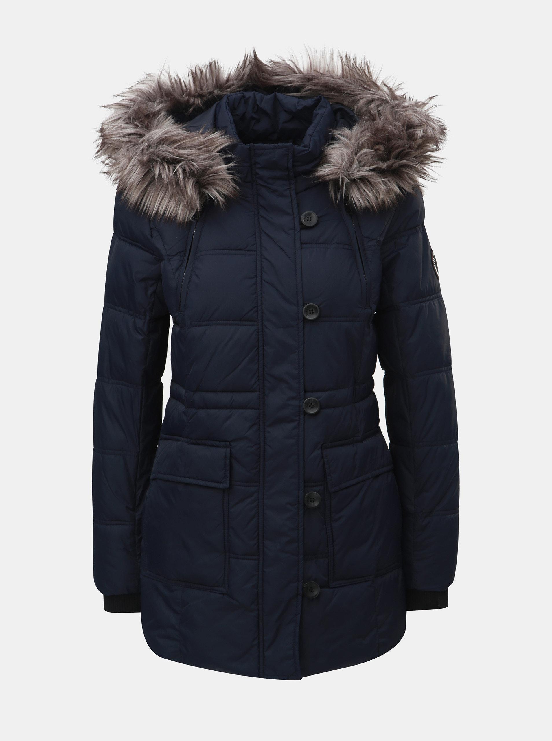 Tmavě modrý prošívaný zimní kabát s odnímatelnou kapucí ONLY Newottowa ... f6ce9c8cee